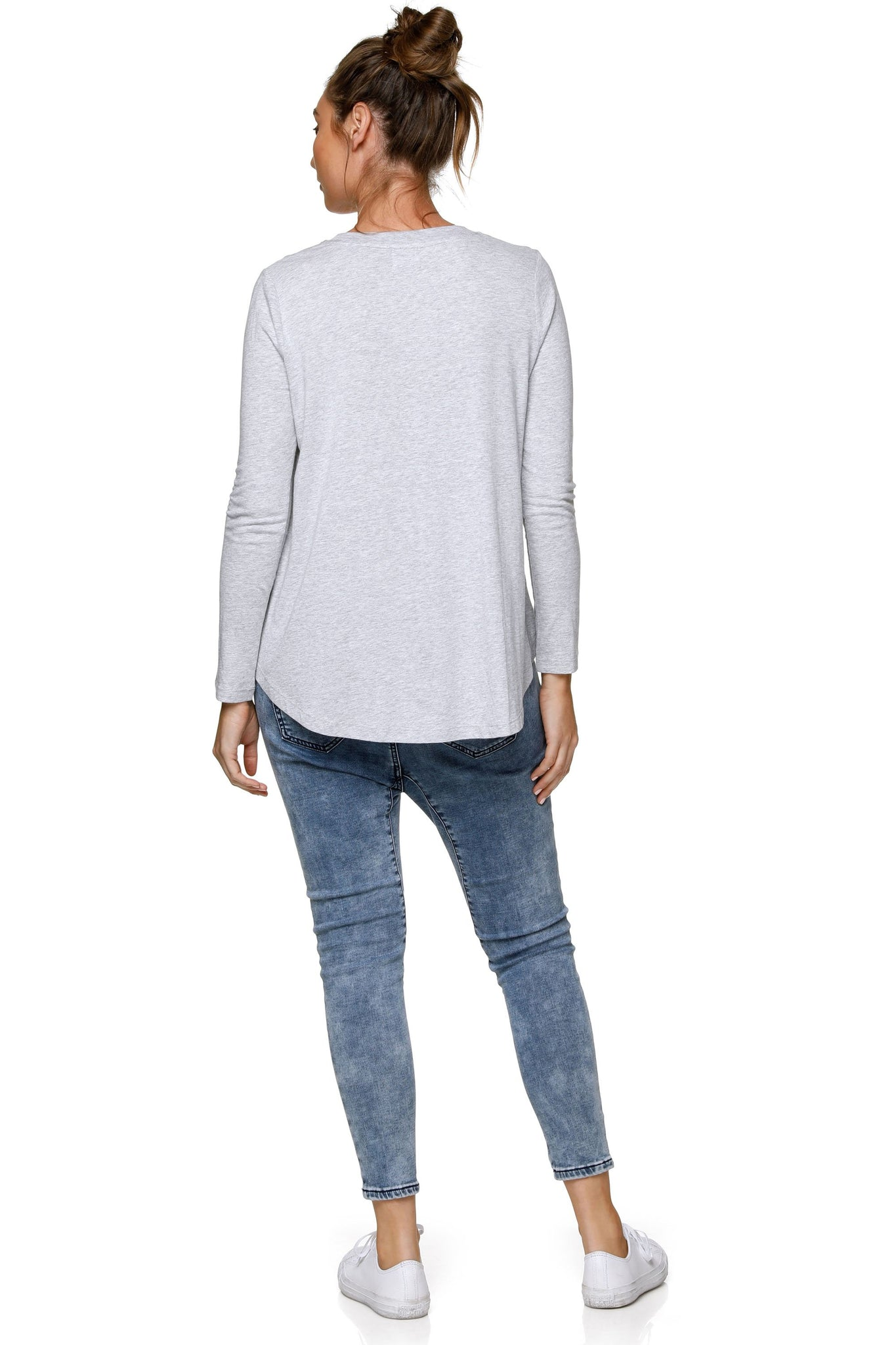 Long Sleeve Maternity Top - Grey 7