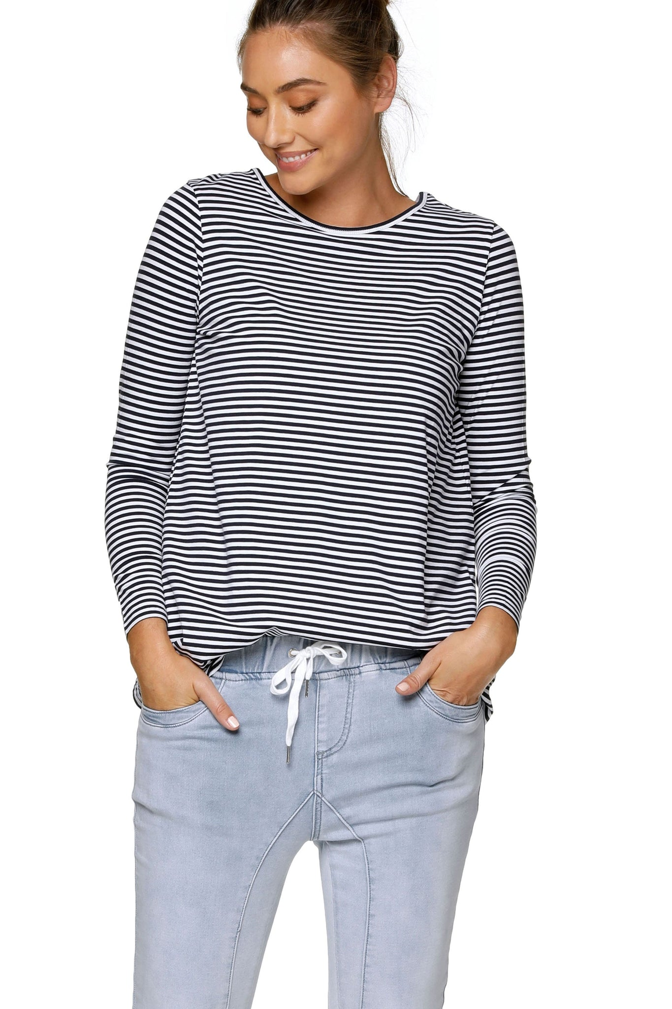 Navy Stripe Long Sleeve Maternity Top 6