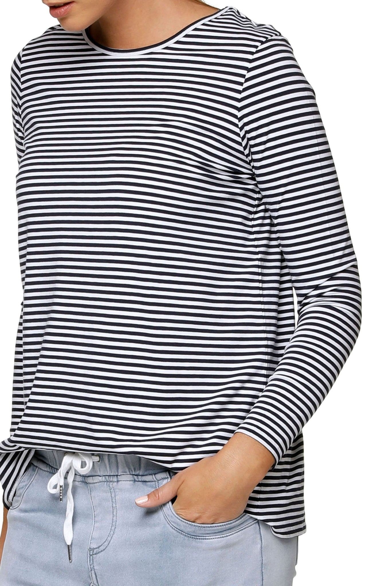 Navy Stripe Long Sleeve Maternity Top 9