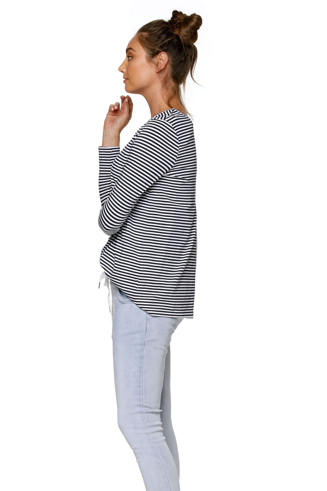 Navy Stripe Long Sleeve Maternity Top 7