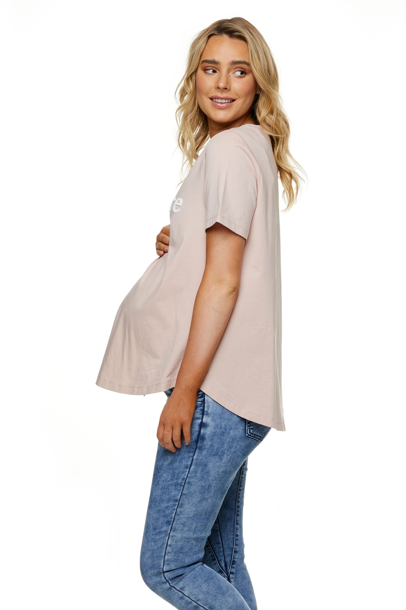 Beaded maternity t-shirt pink 2