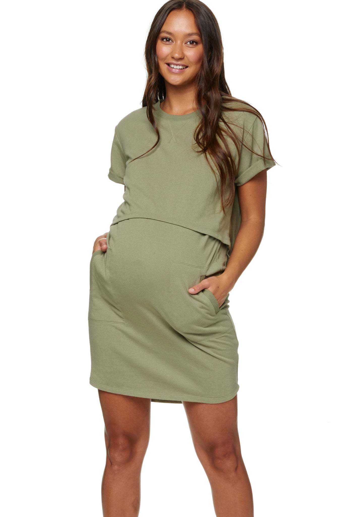 Maternity and Nursing Dress Khaki Image 1