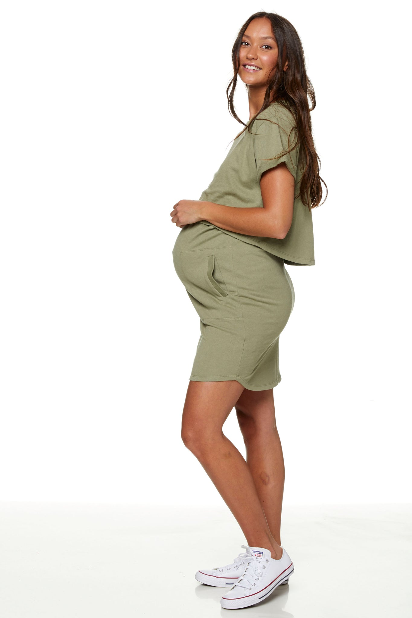Maternity and Nursing Dress Khaki Image 2