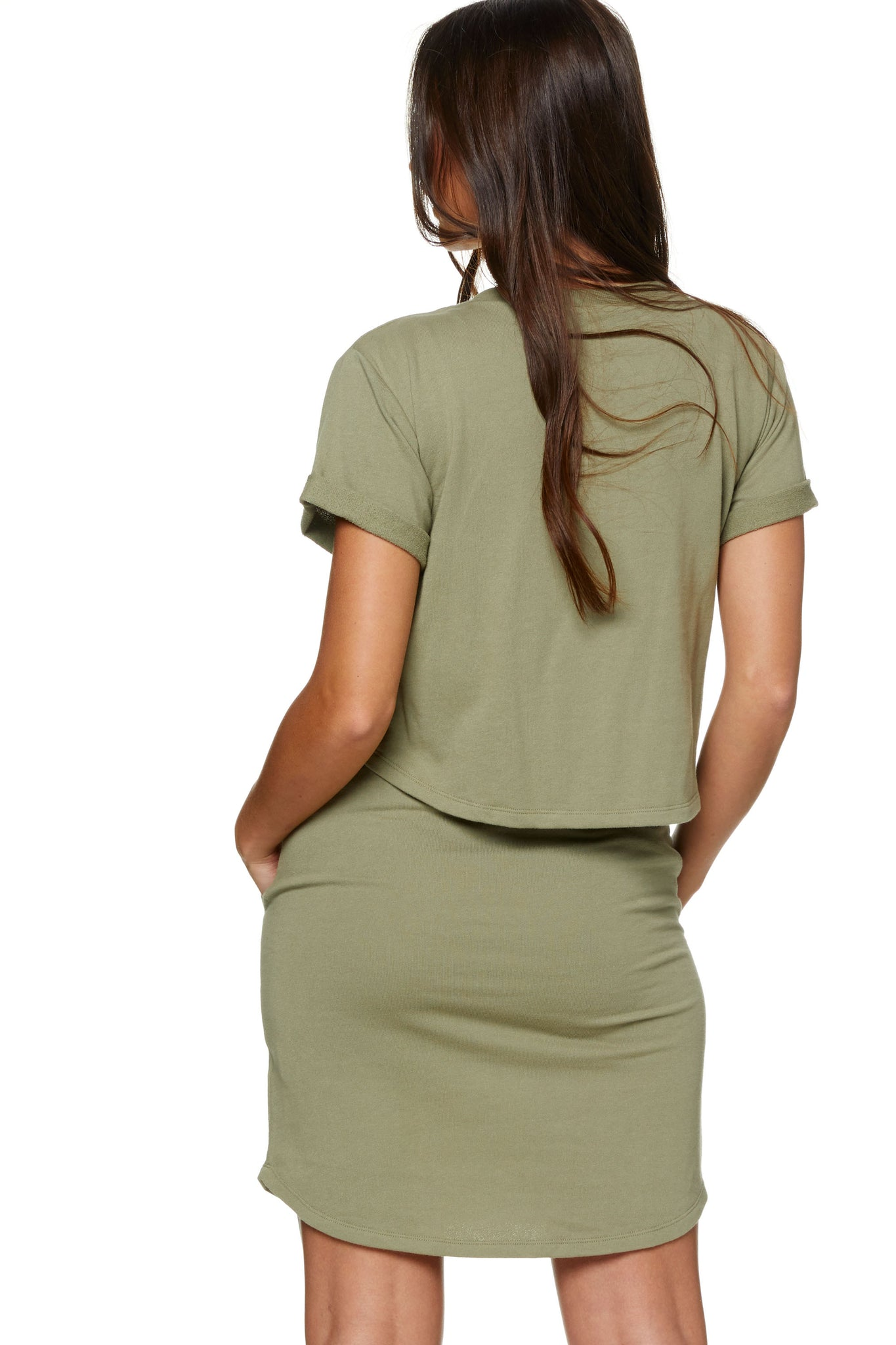 Maternity and Nursing Dress Khaki Image 3