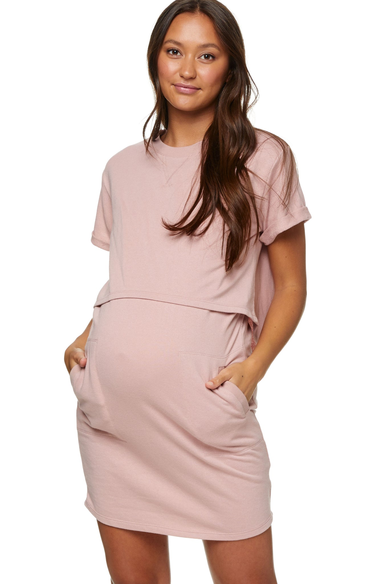 Maternity and Nursing Dress Pink Image 1