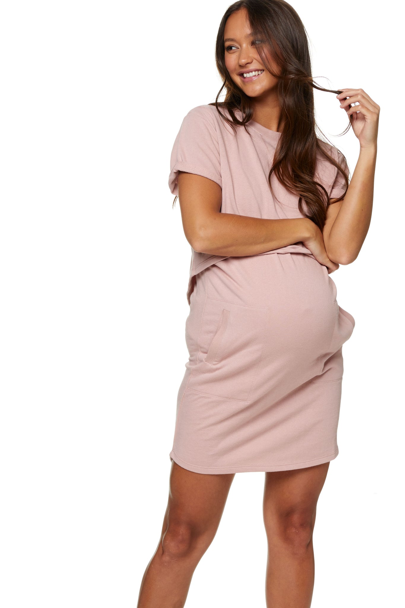 Maternity and Nursing Dress Pink Image 3