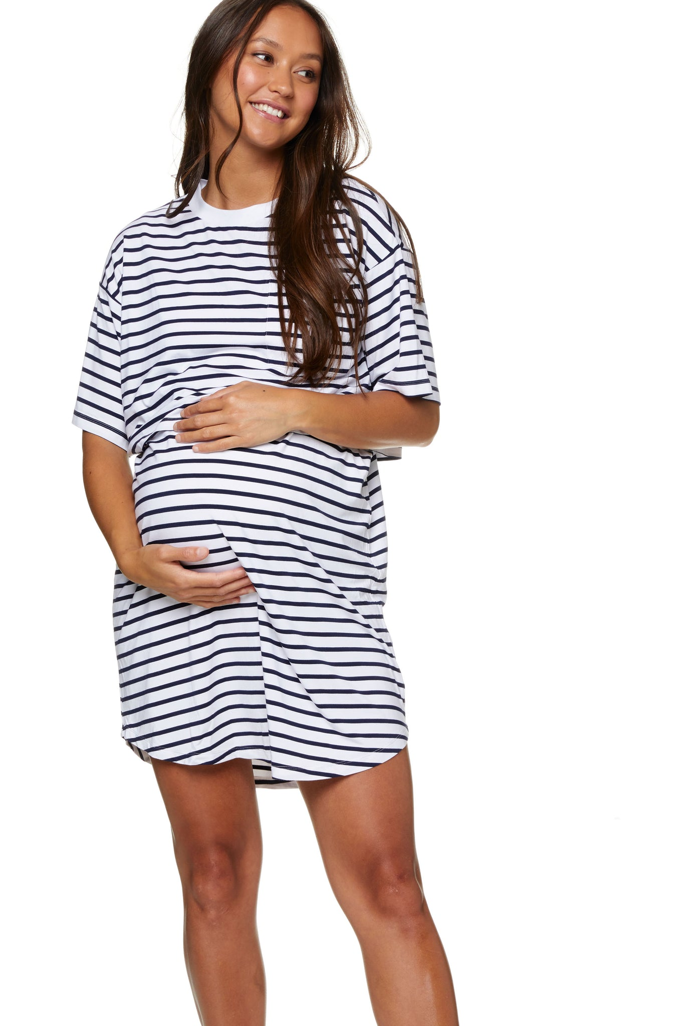 Stripe Maternity and Nursing Pajama Dress Image 1