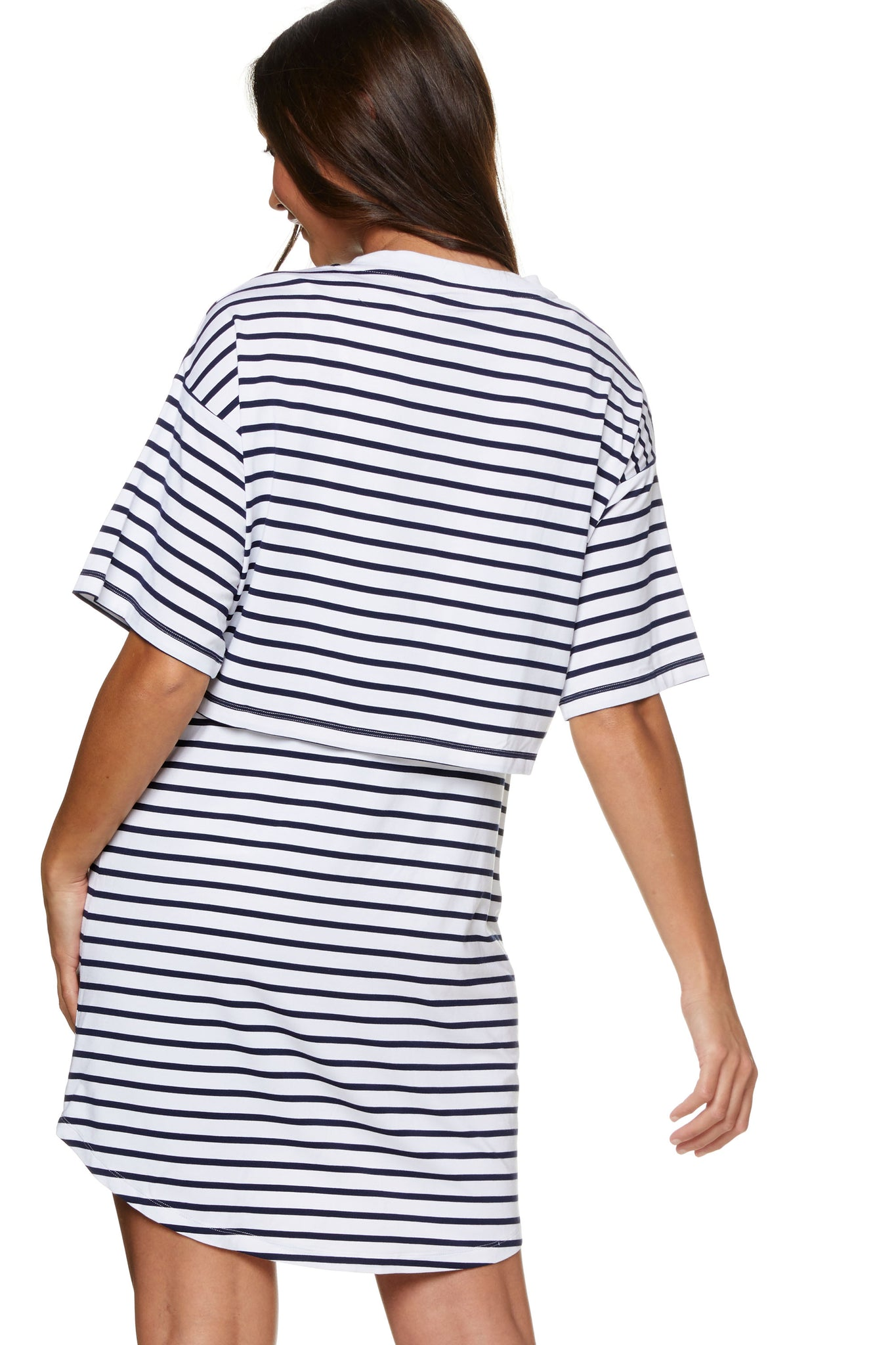 Stripe Maternity and Nursing Pajama Dress Image 4