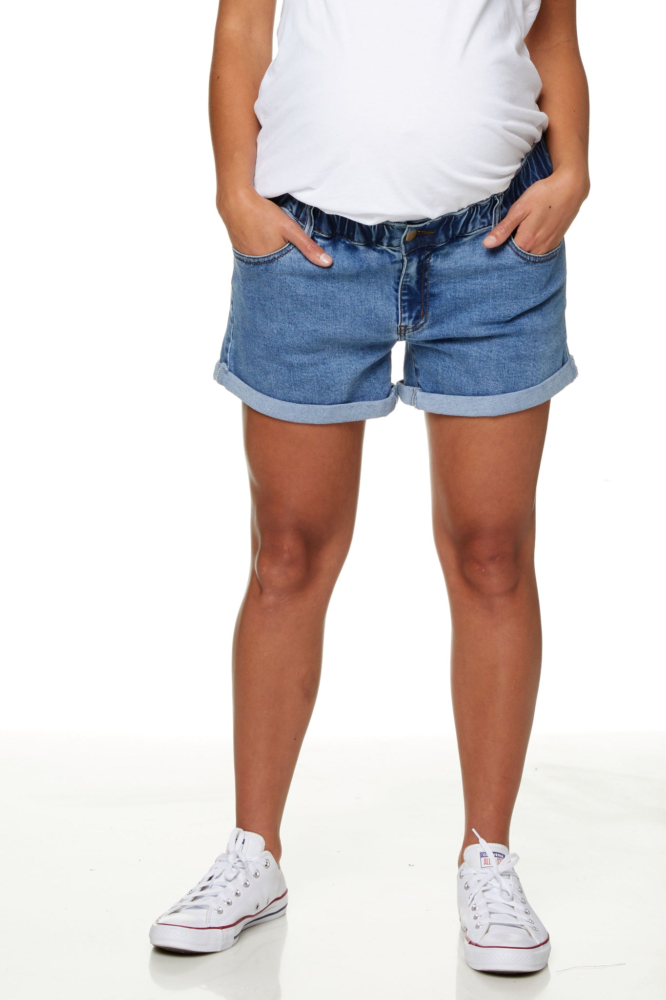 Maternity Denim Short Washed Blue Image  1