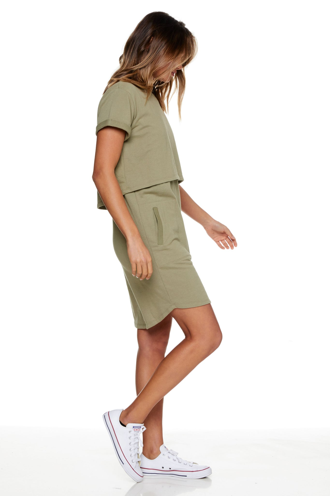 Maternity and Nursing Dress Khaki Image 7