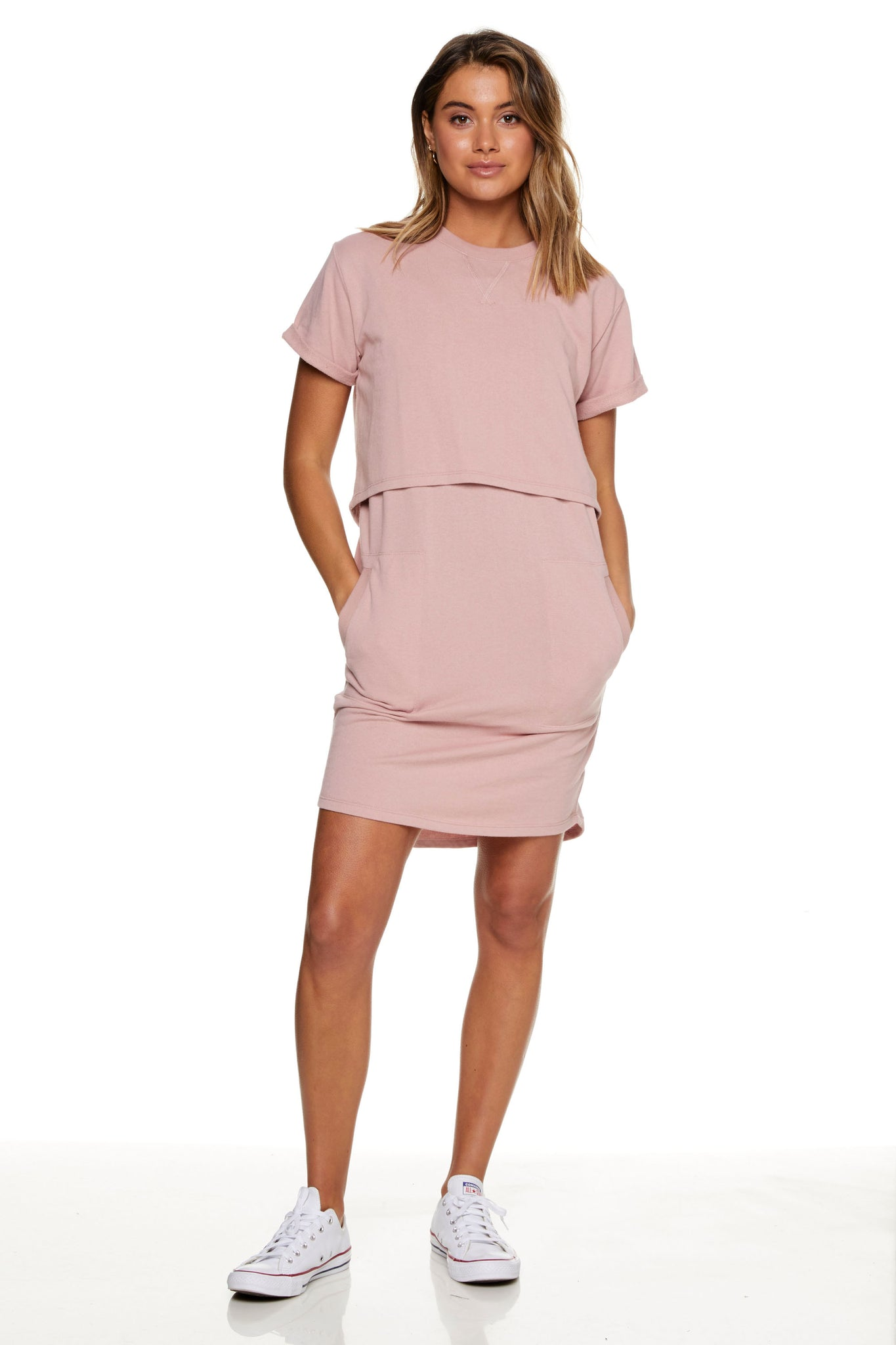 Maternity and Nursing Dress Pink Image 8