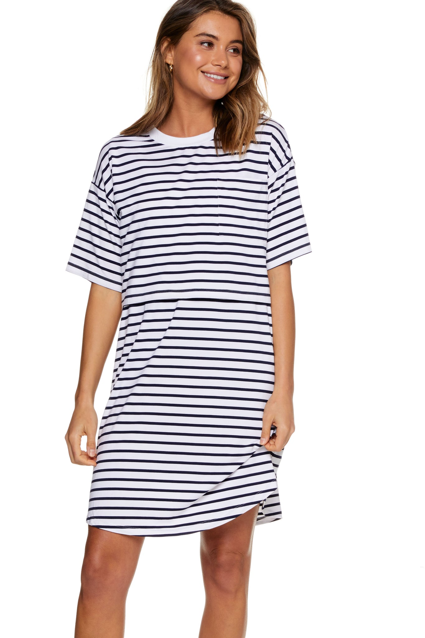 Stripe Maternity and Nursing Pajama Dress Image 5