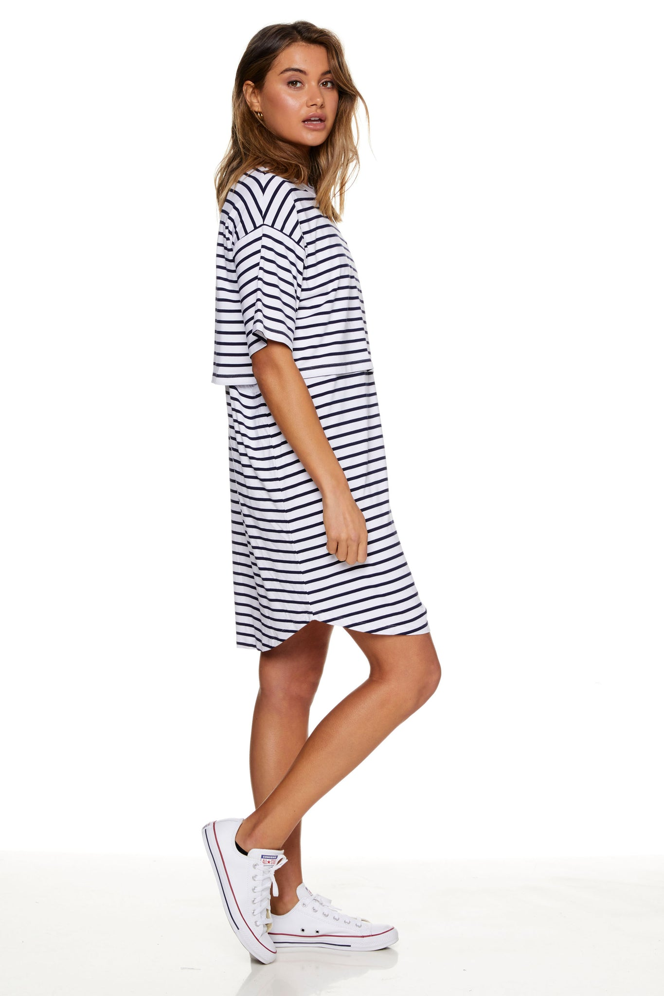Stripe Maternity and Nursing Pajama Dress Image 6