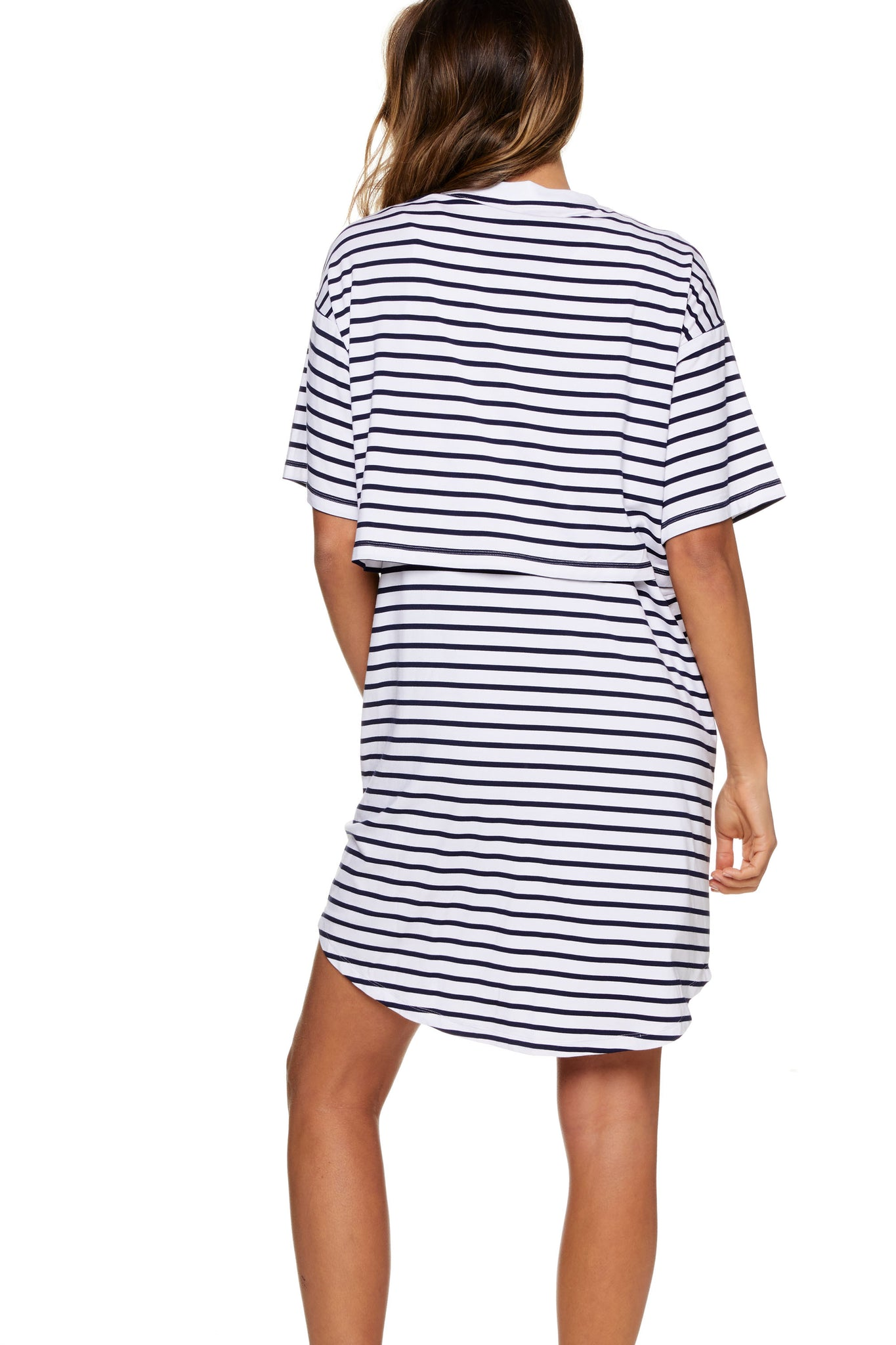 Stripe Maternity and Nursing Pajama Dress Image 7