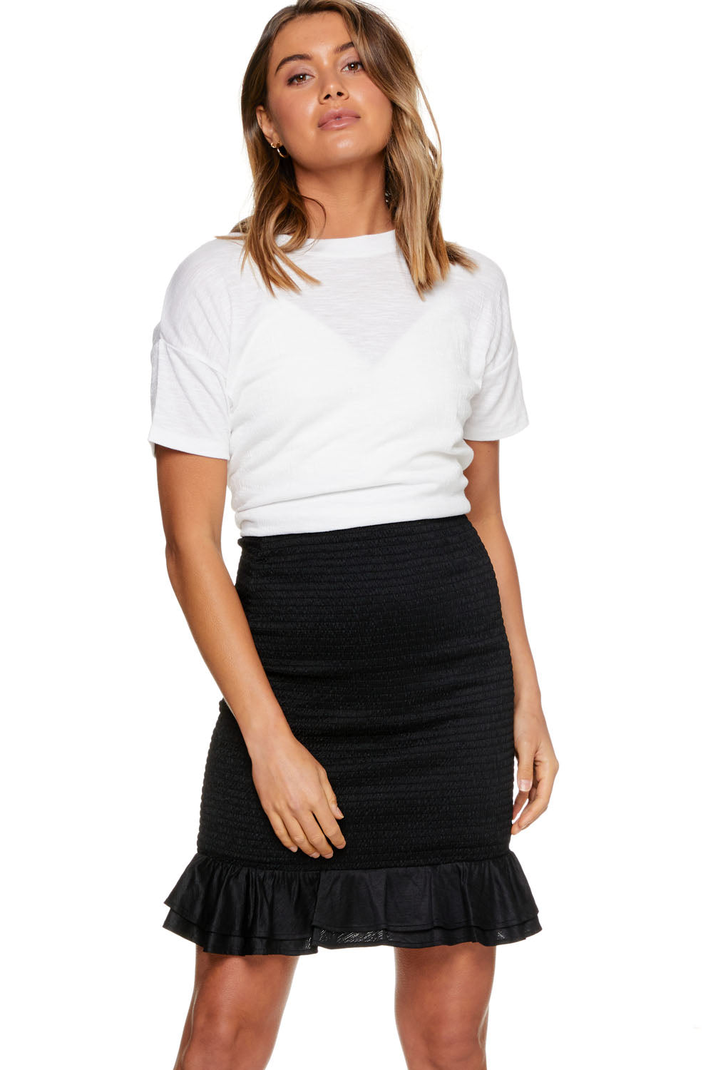 Black Shirred Maternity Skirt Image 6