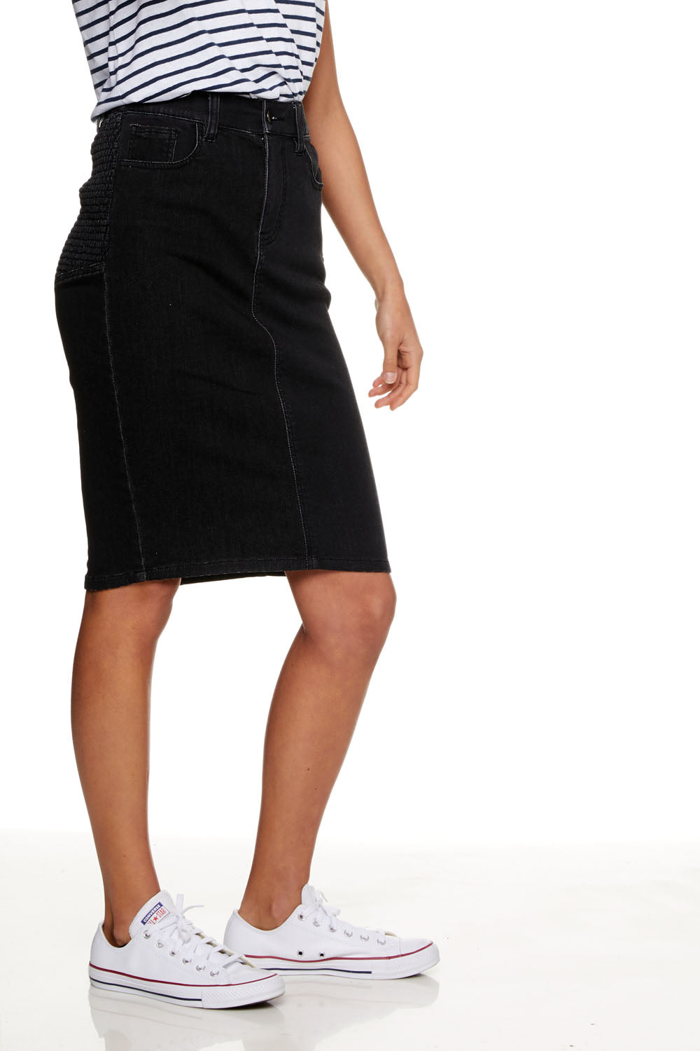 First Glance Overbump Denim Skirt