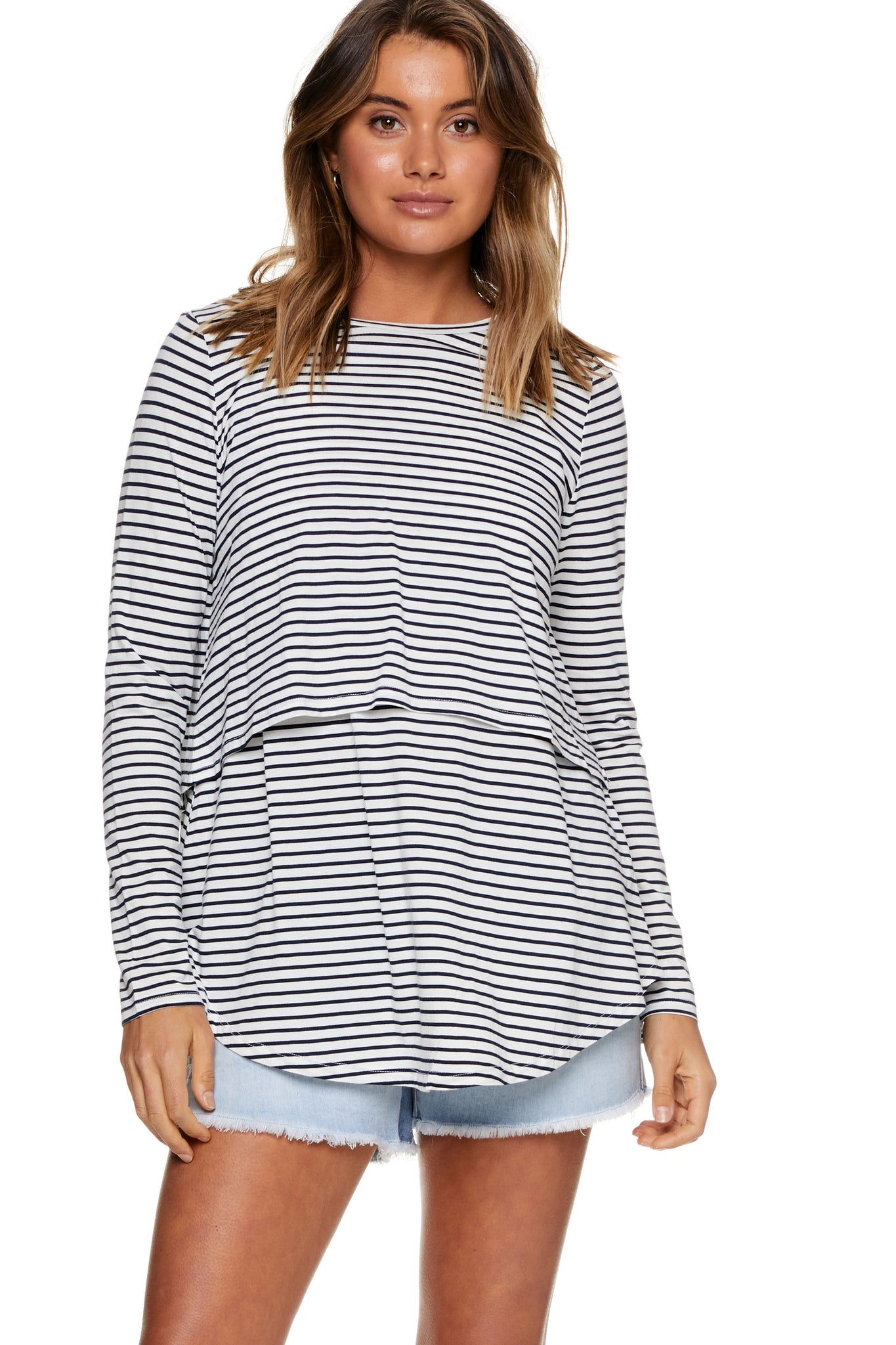 Maternity and Nursing Long Sleeve Top Stripe Image 6