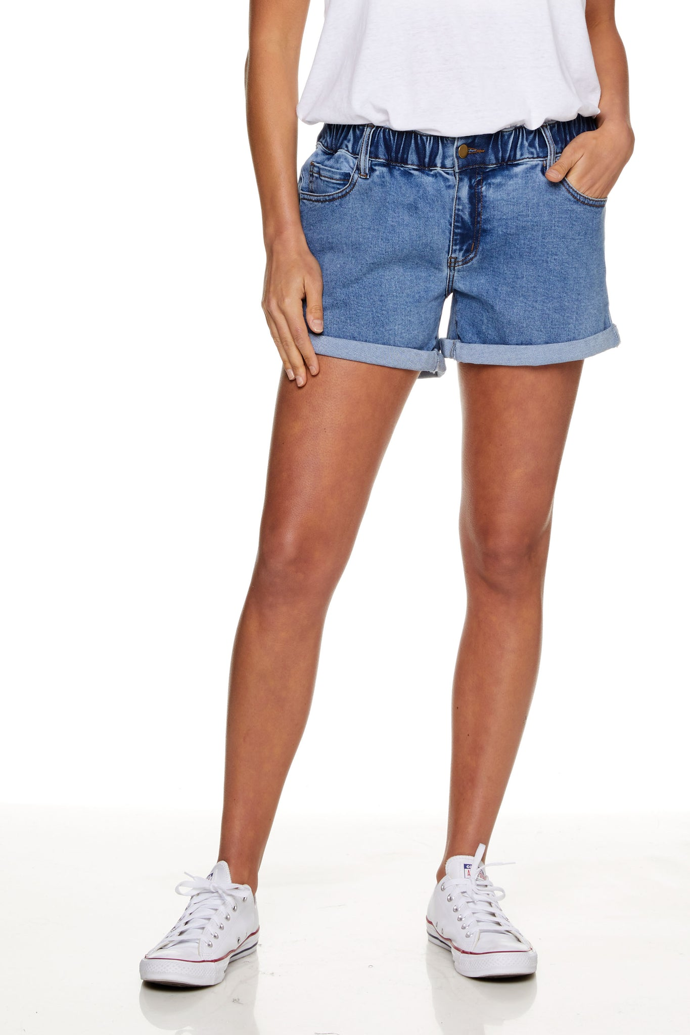 Maternity Denim Short Washed Blue Image  8