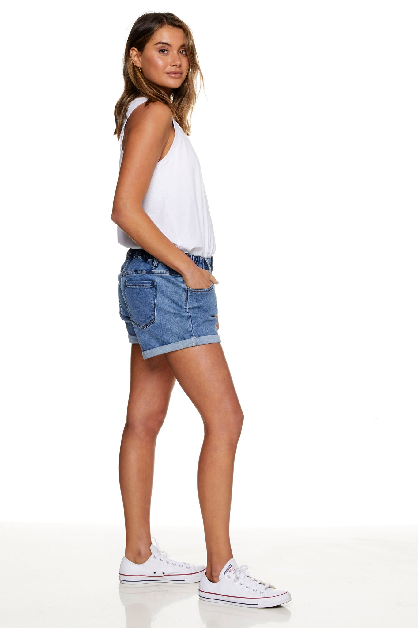 Maternity Denim Short Washed Blue Image  7