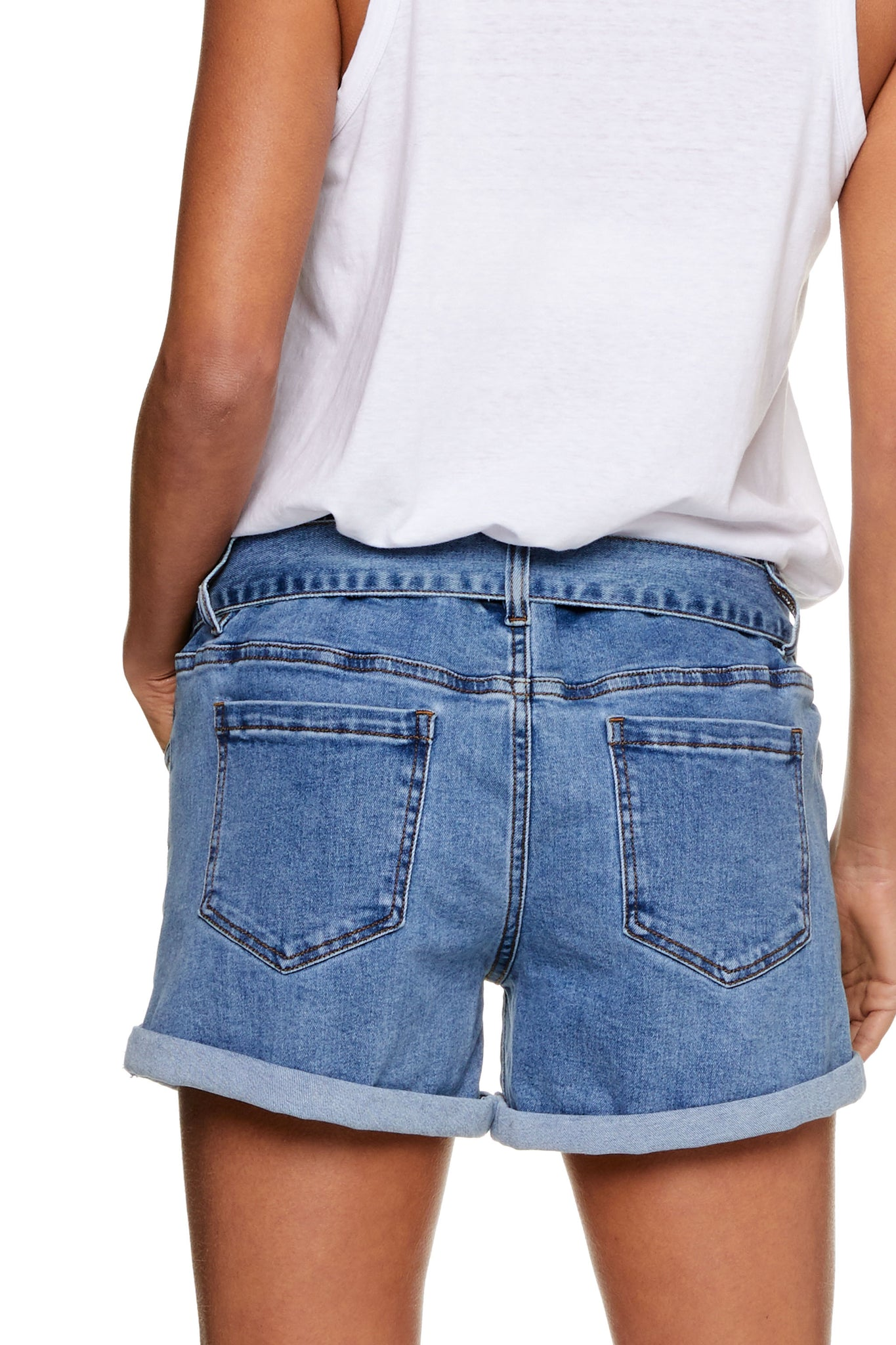 Maternity Denim Short Washed Blue Image  9