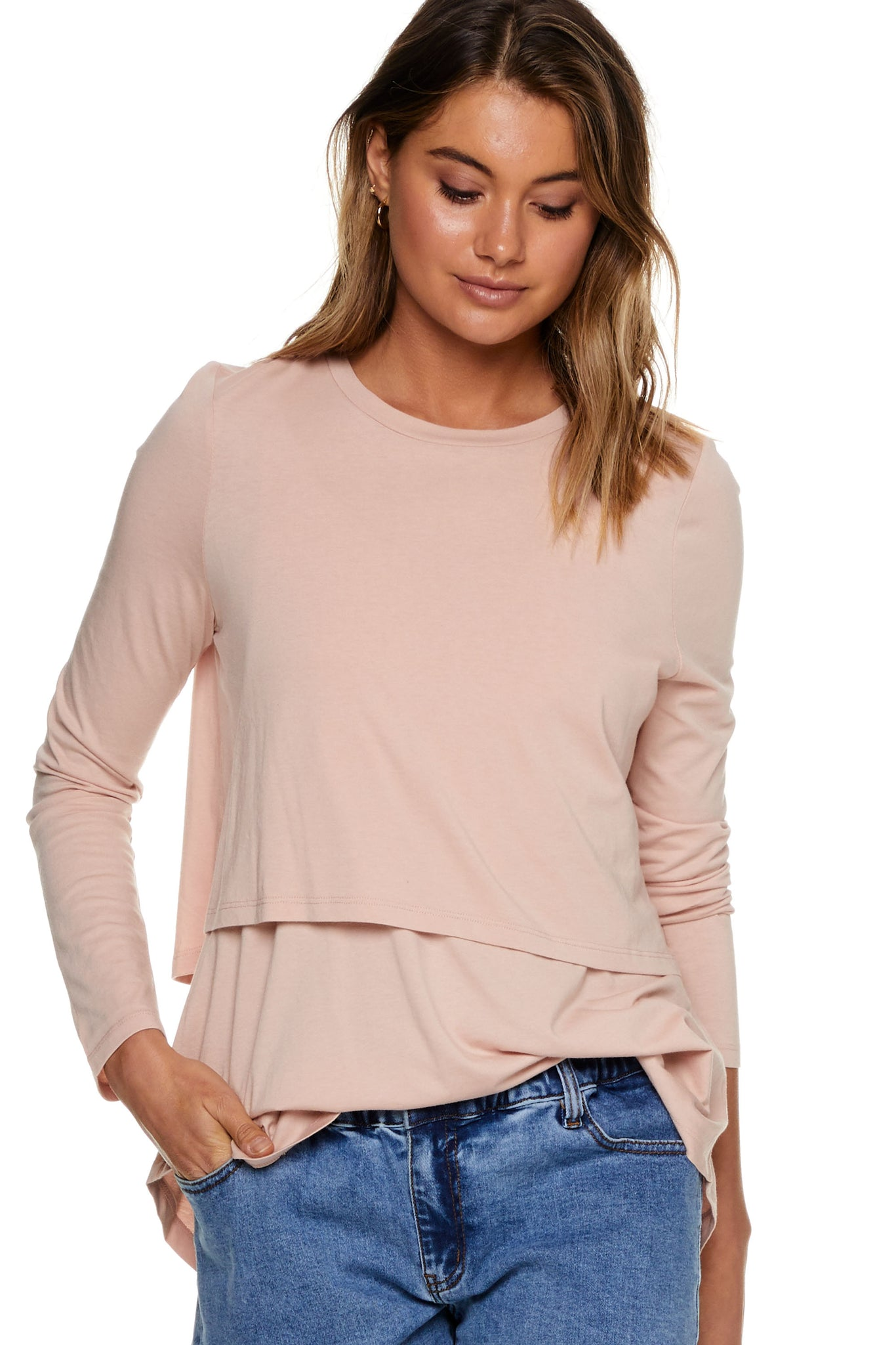 Maternity and Nursing Long Sleeve Top Pink Image 10