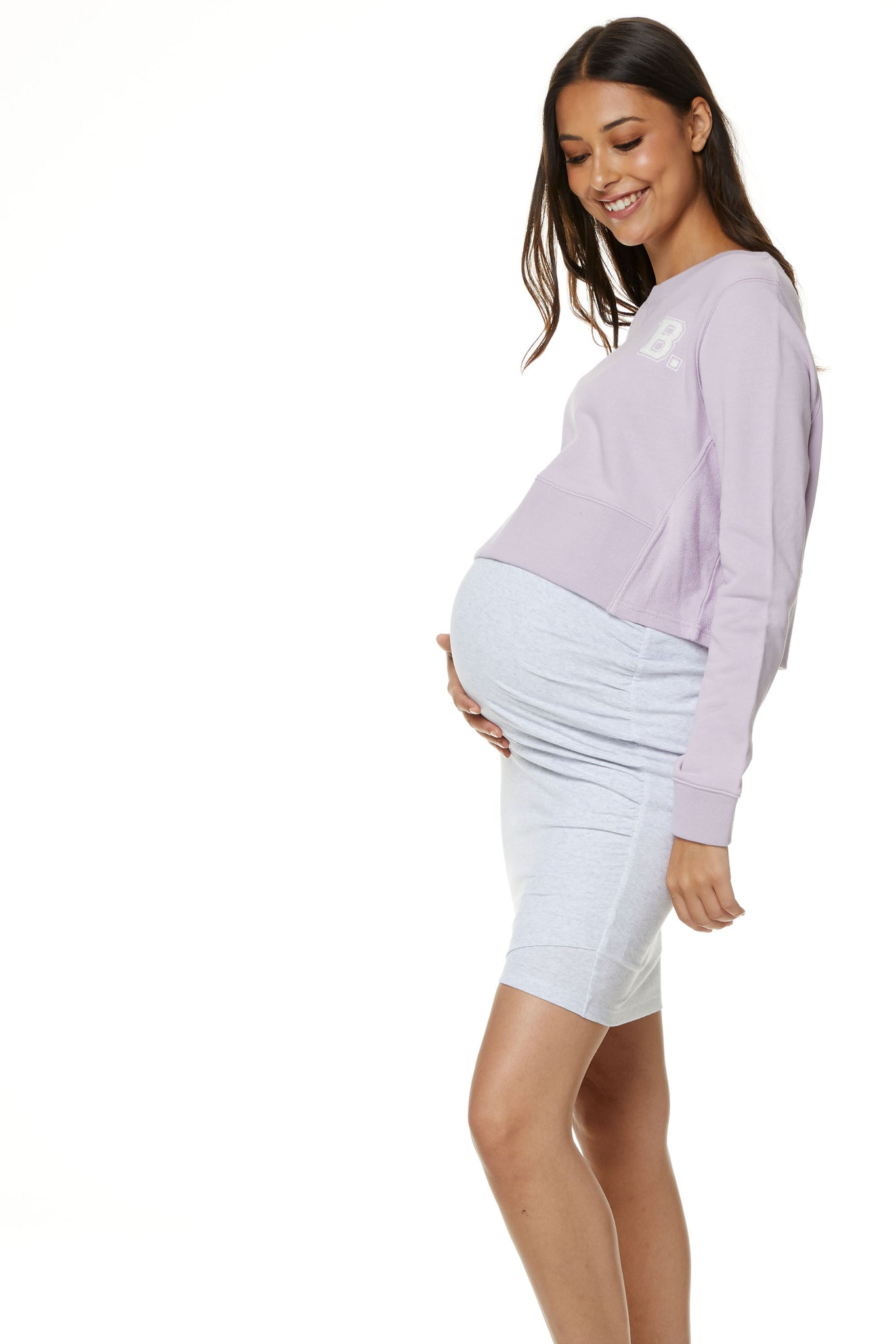 Maternity Crop Sweater Lilac 2