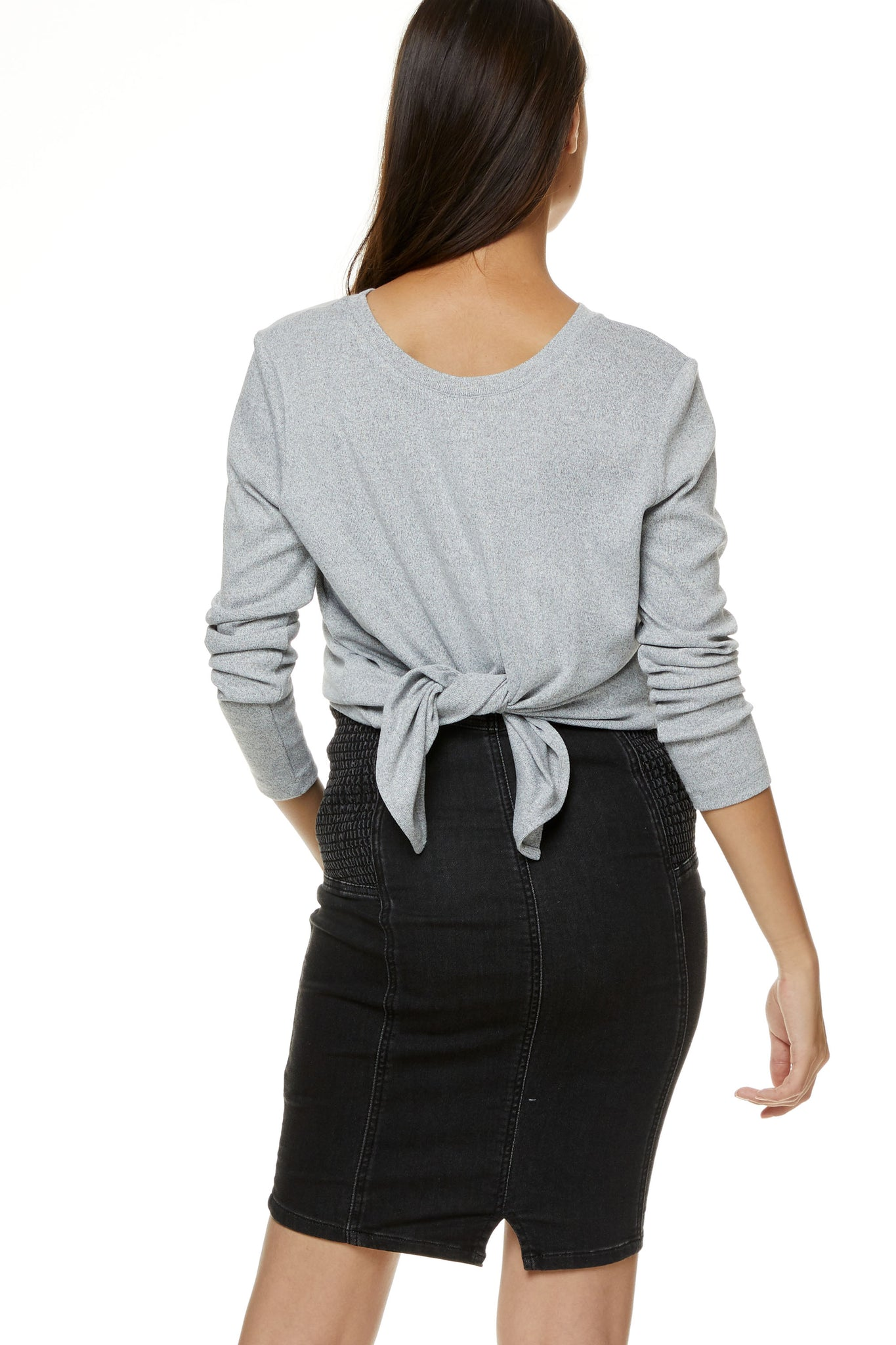 Grey Maternity Tie Up Top 2