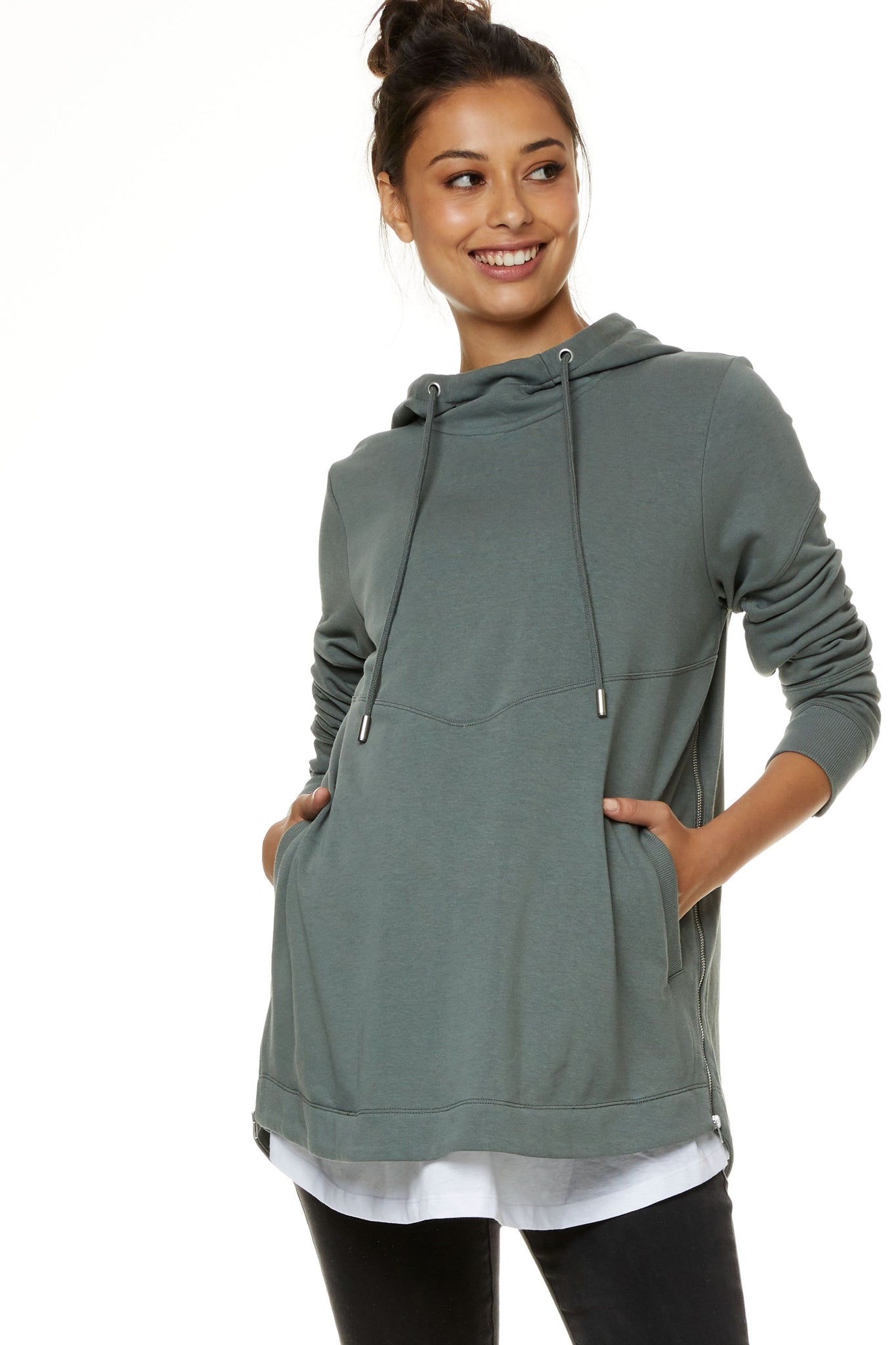 Maternity and Nursing Hoodie Khaki Image1