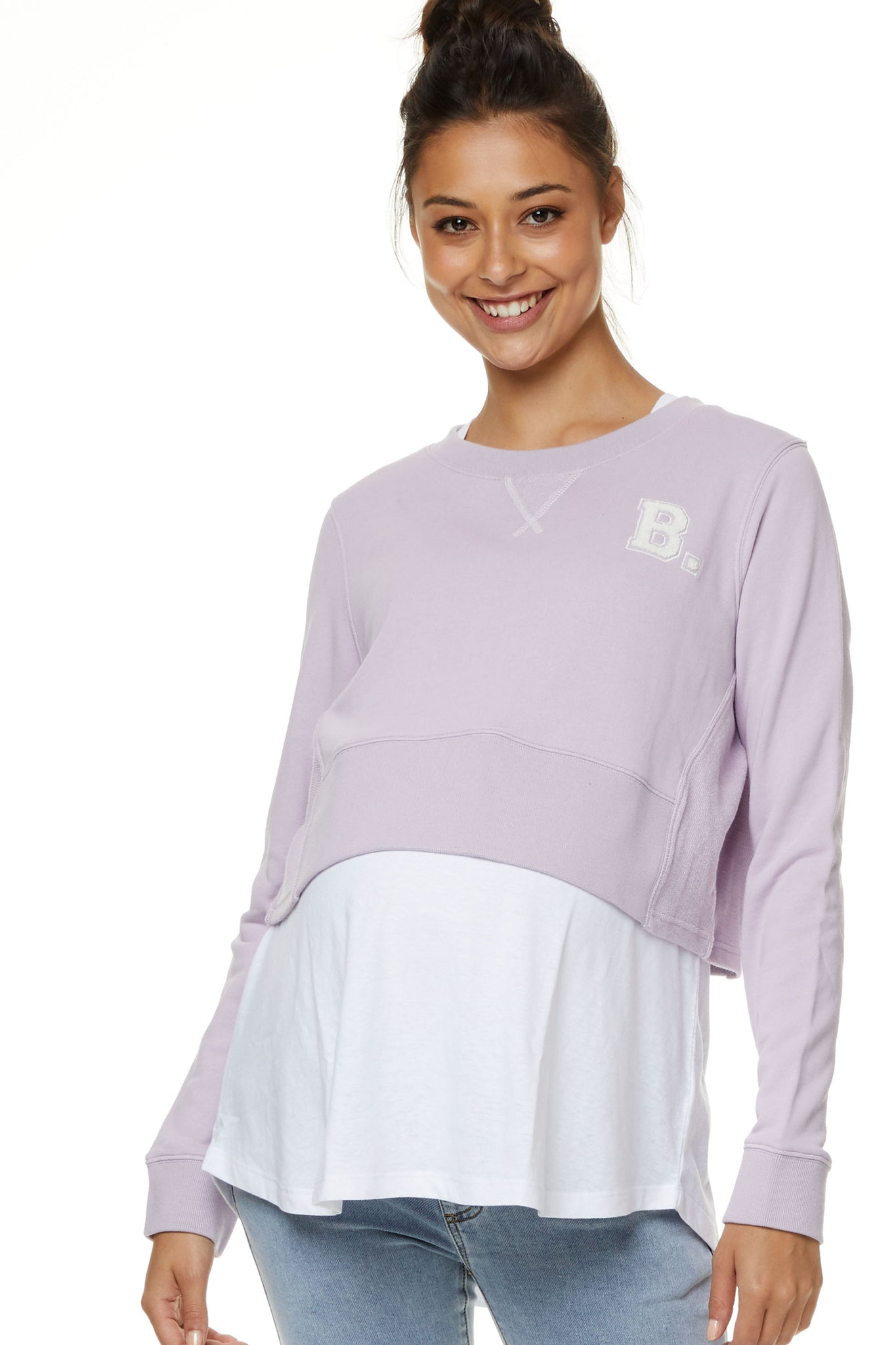 Maternity Crop Sweater Lilac 4