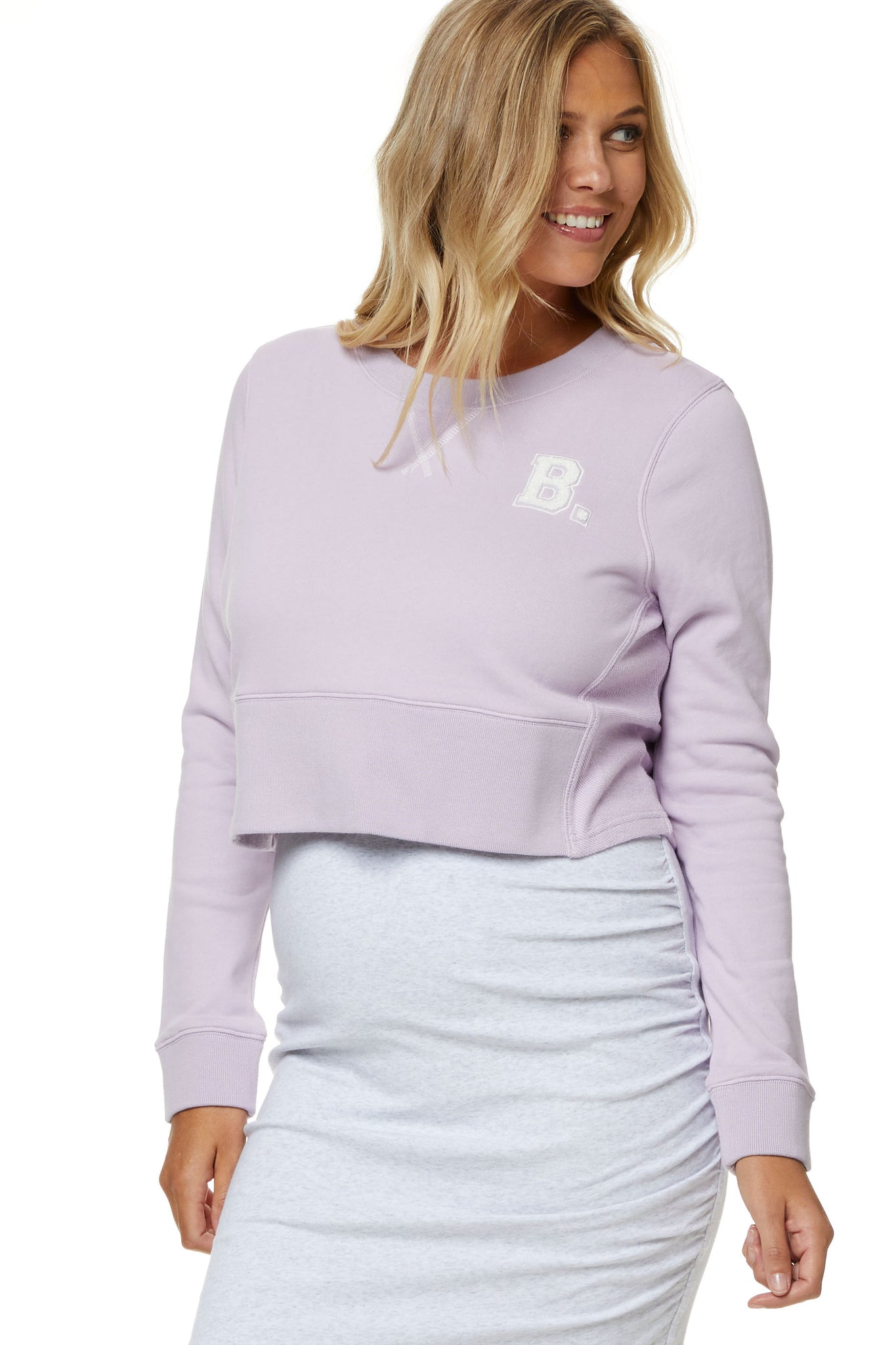 Maternity Crop Sweater Lilac 9