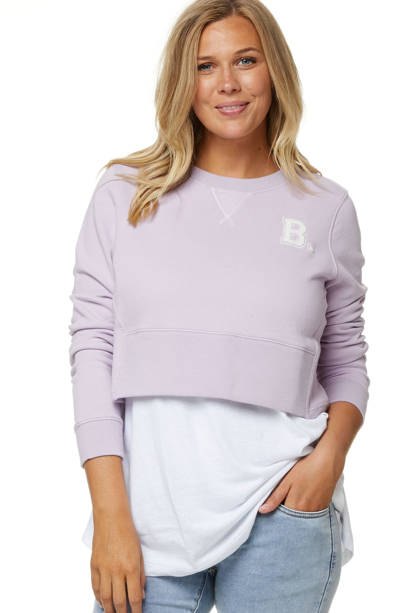 Maternity Crop Sweater Lilac 6