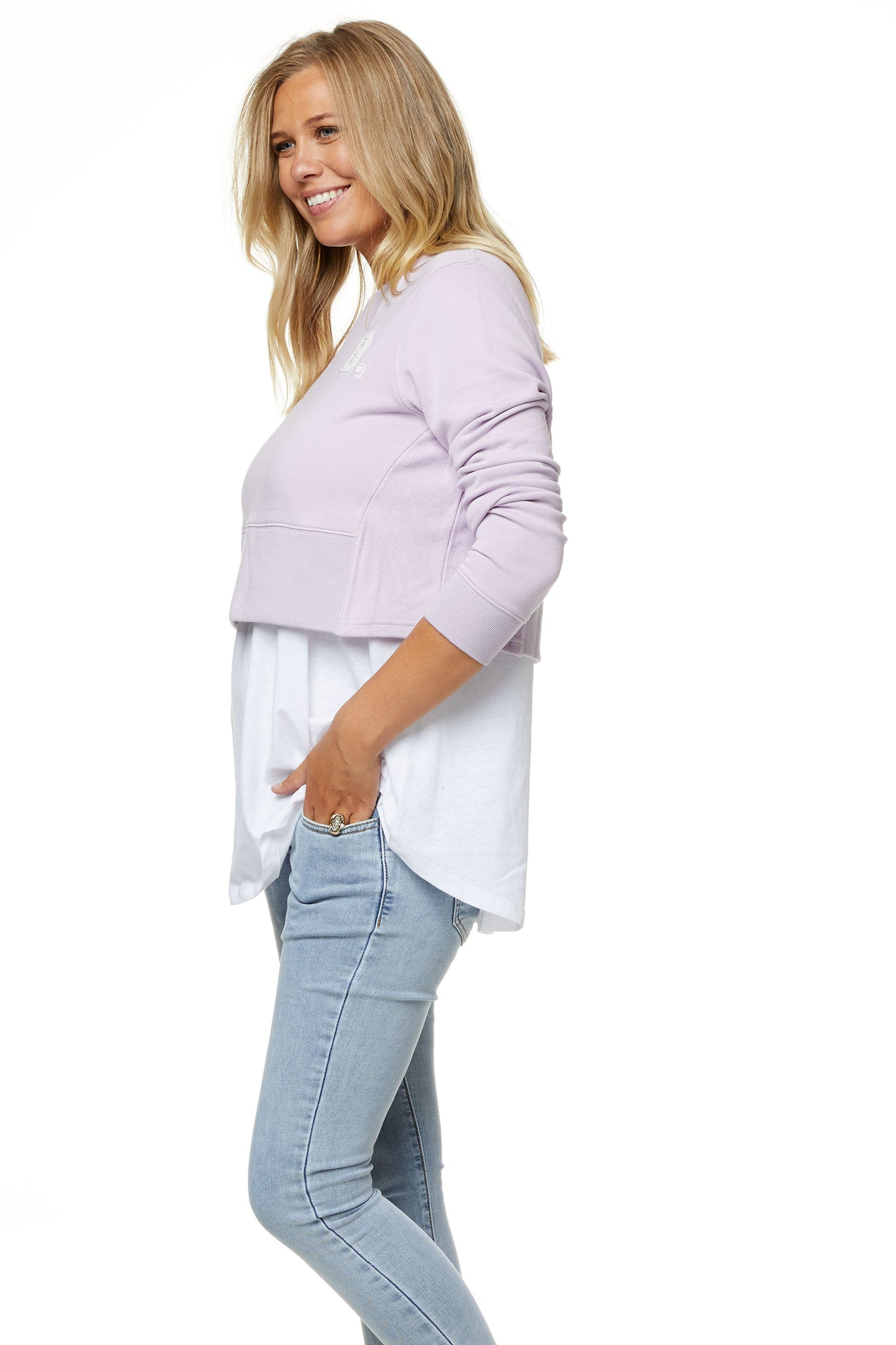 Maternity Crop Sweater Lilac 7