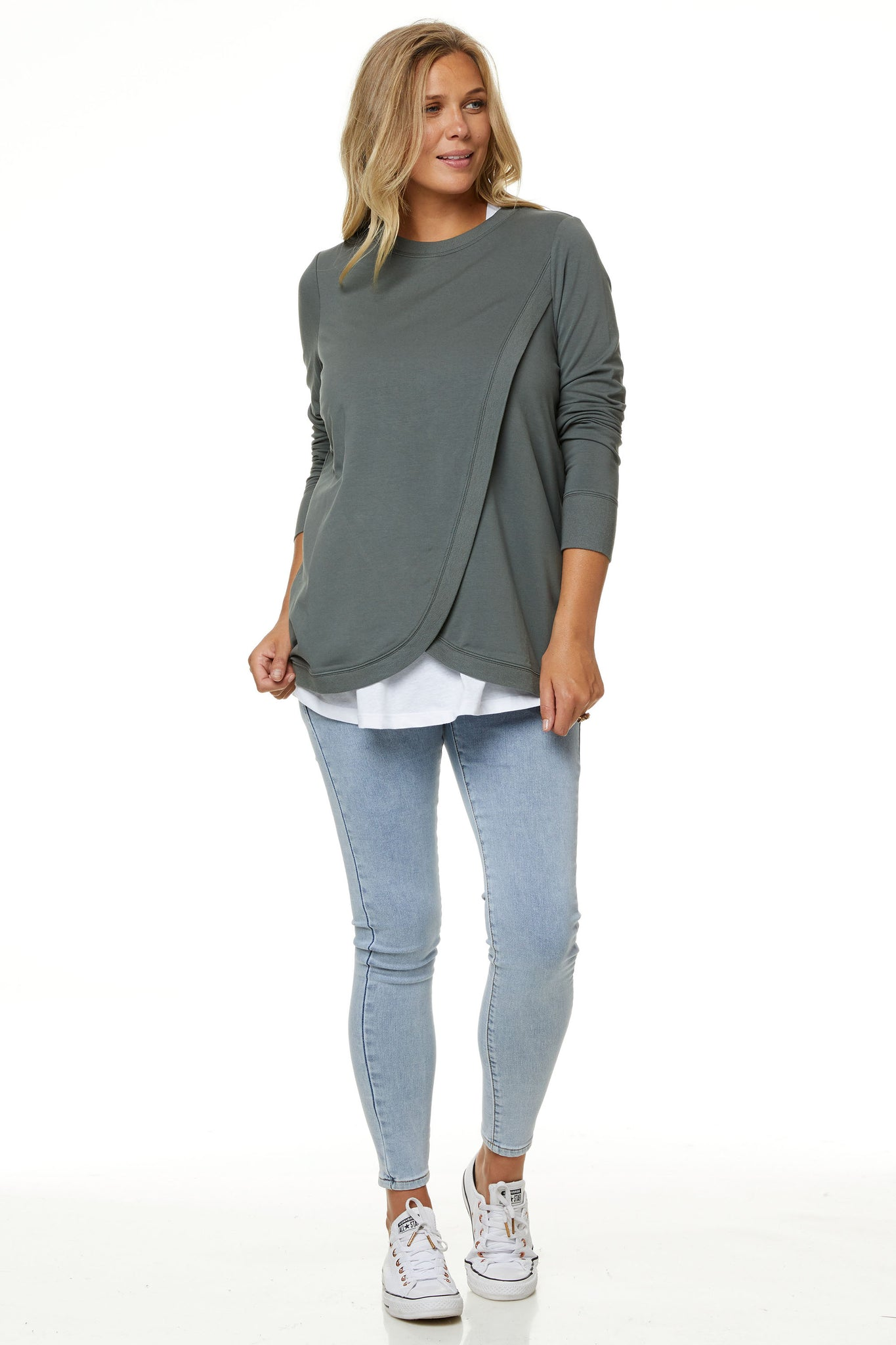 Maternity + Nursing Sweater Top - Khaki 5