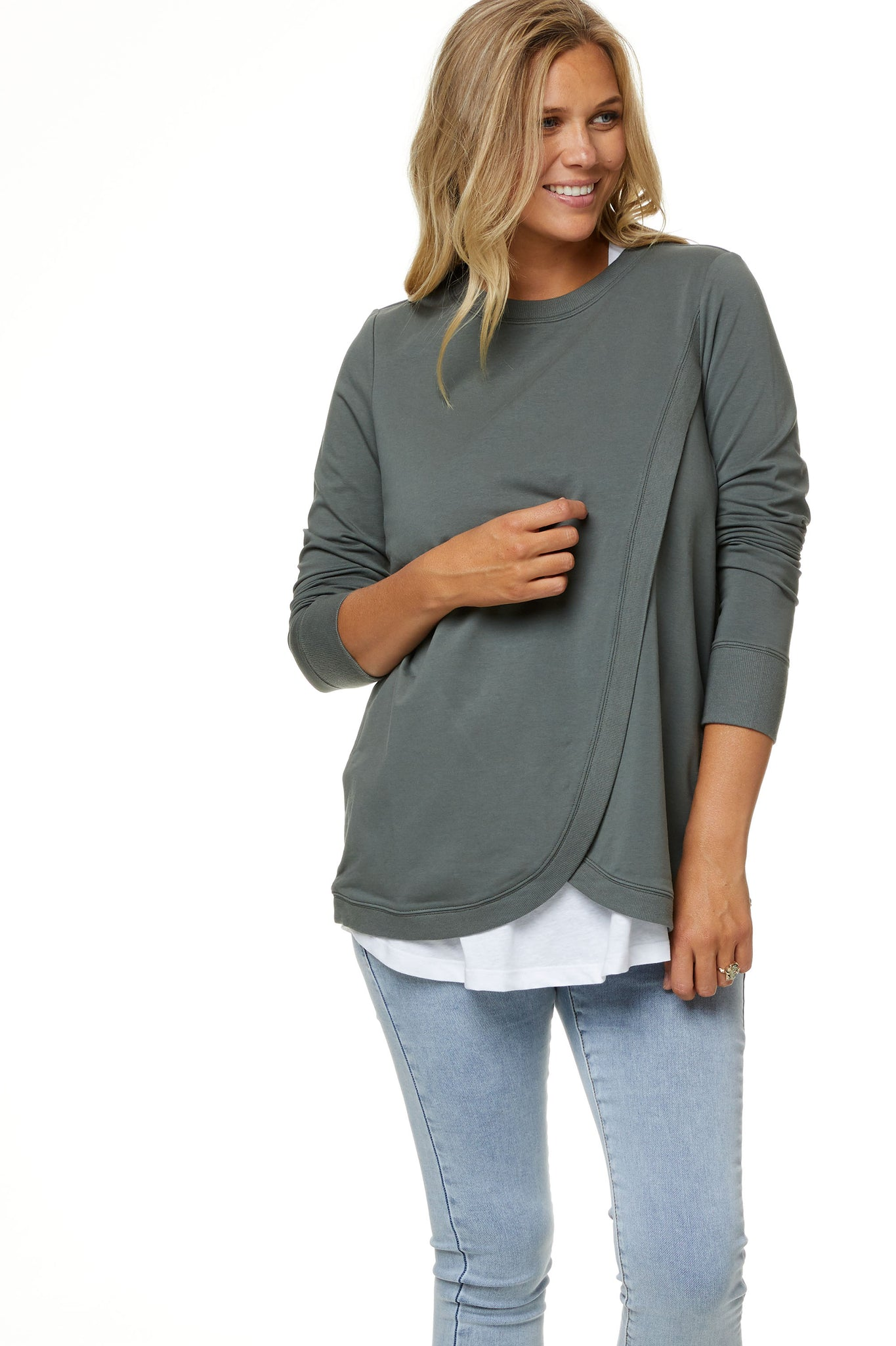 Maternity and Nursing Sweater - Khaki 7