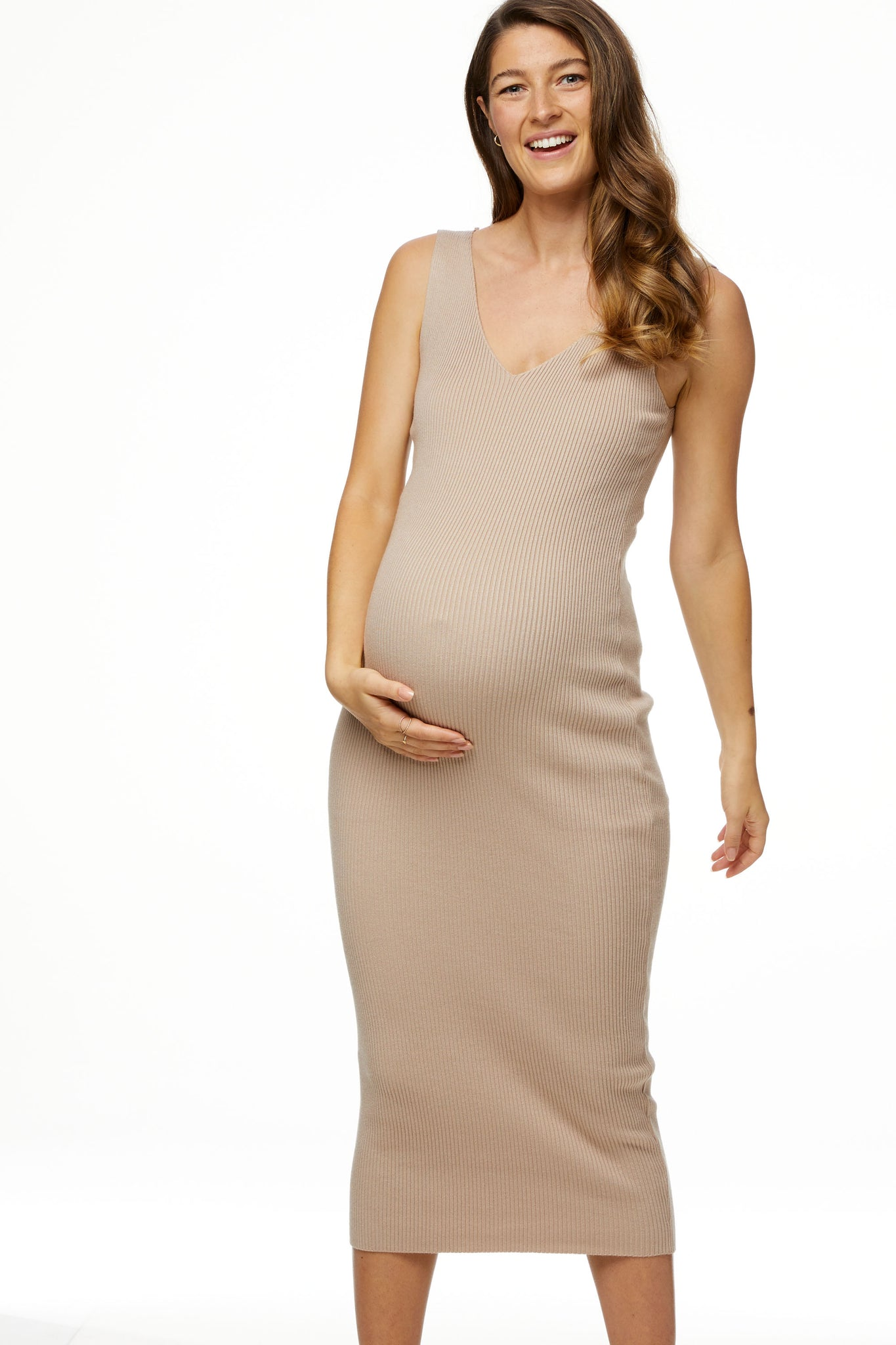 Rib Knit Maternity Dress 1
