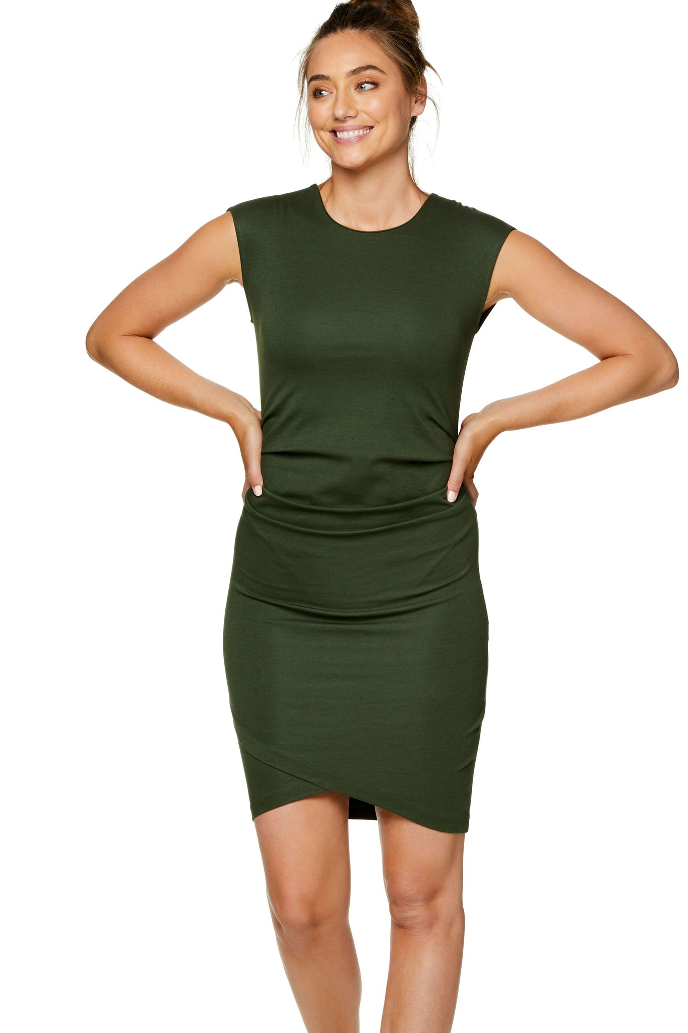 Khaki Maternity Bodycon Dress 5