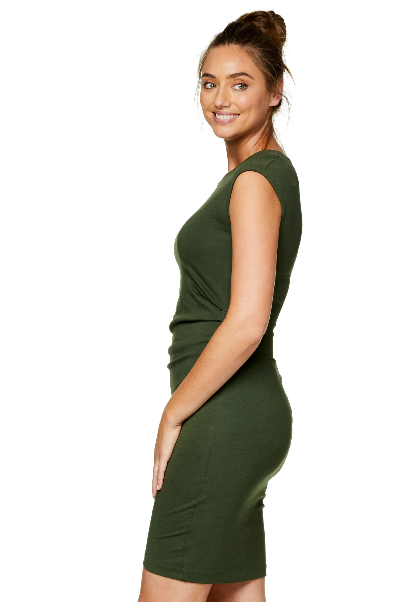Khaki Maternity Bodycon Dress 6