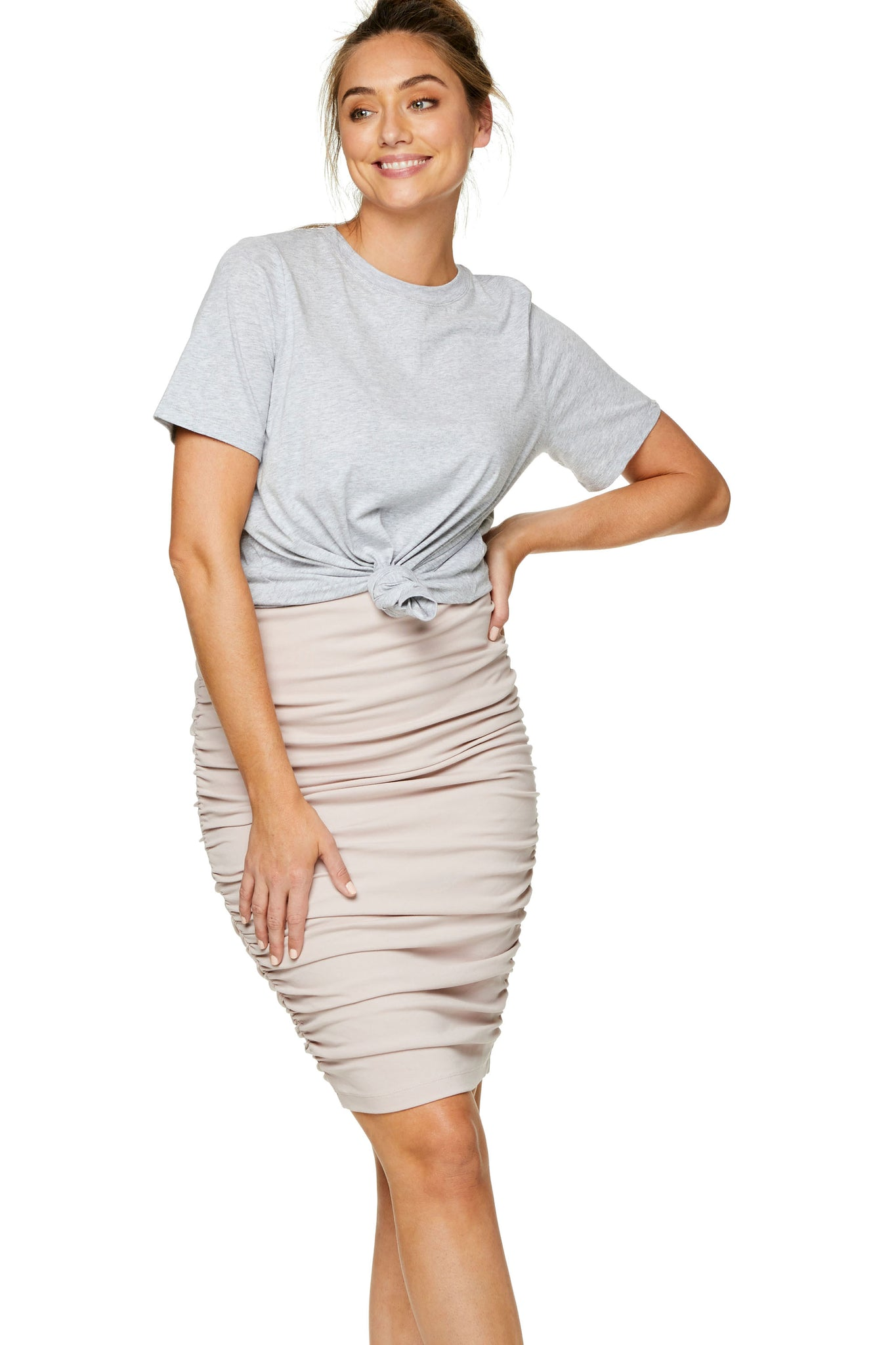 Ruched Maternity Skirt - Pink 6