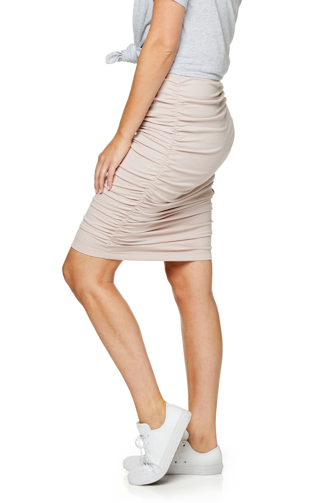Ruched Maternity Skirt - Pink 7