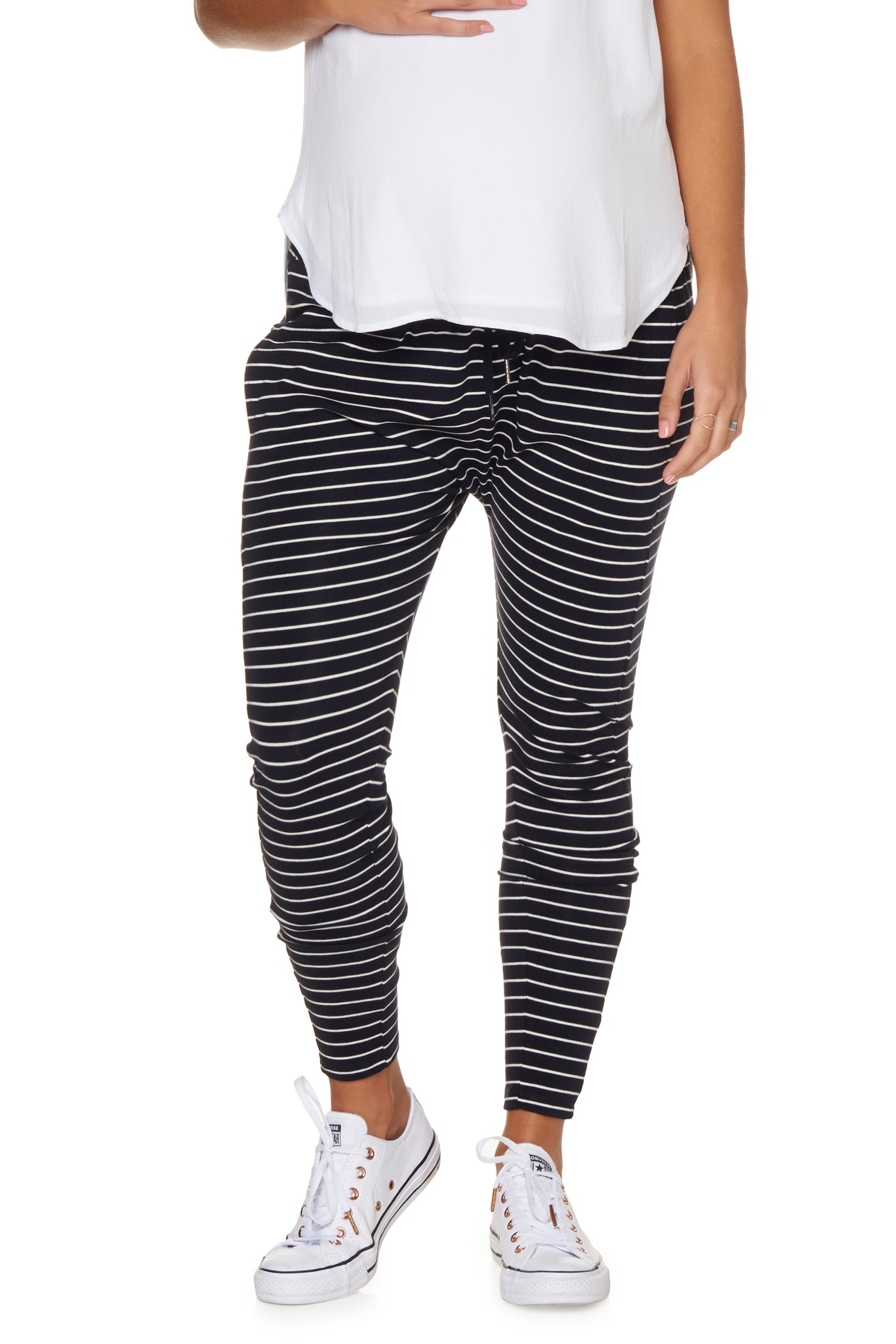 Casual Maternity Pants in Navy & White Stripe 1