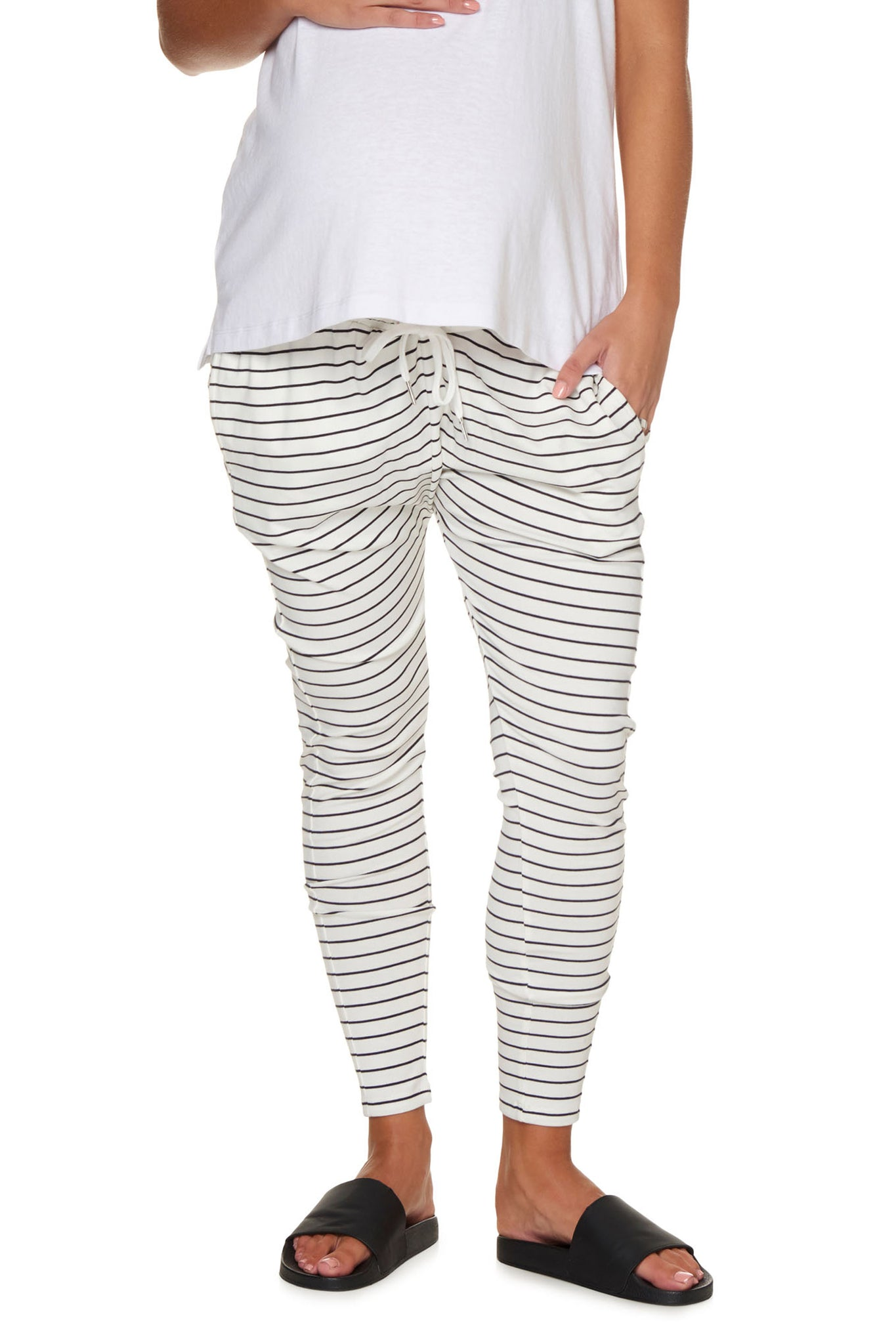 Maternity Pants for Summer in White Stripe Image 1