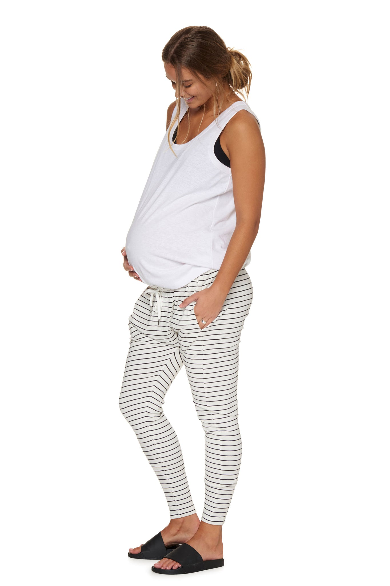 Maternity White Stripe Pant Image 2