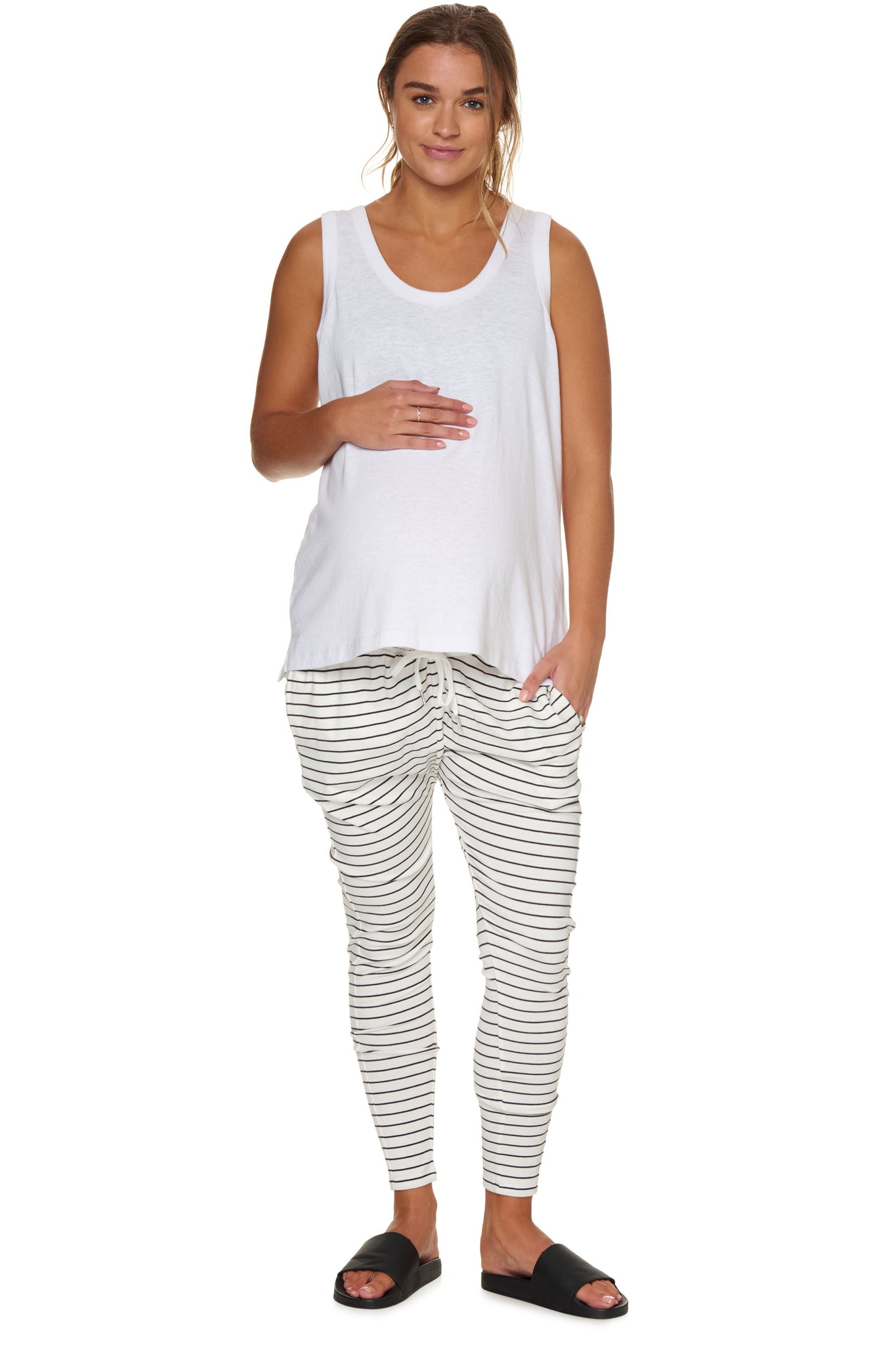Maternity White Stripe Pant Image 3