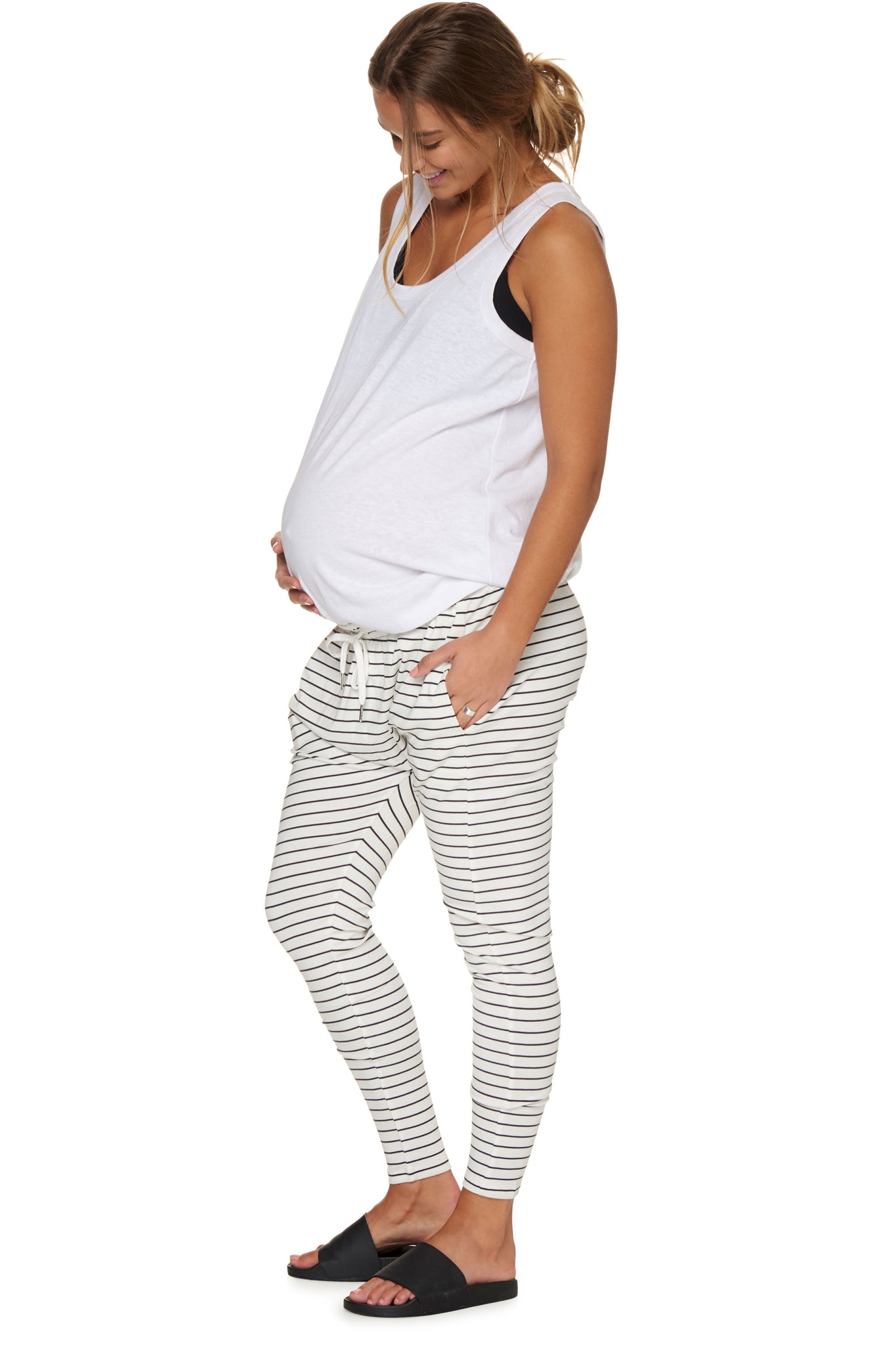 Maternity White Stripe Pant Image 5