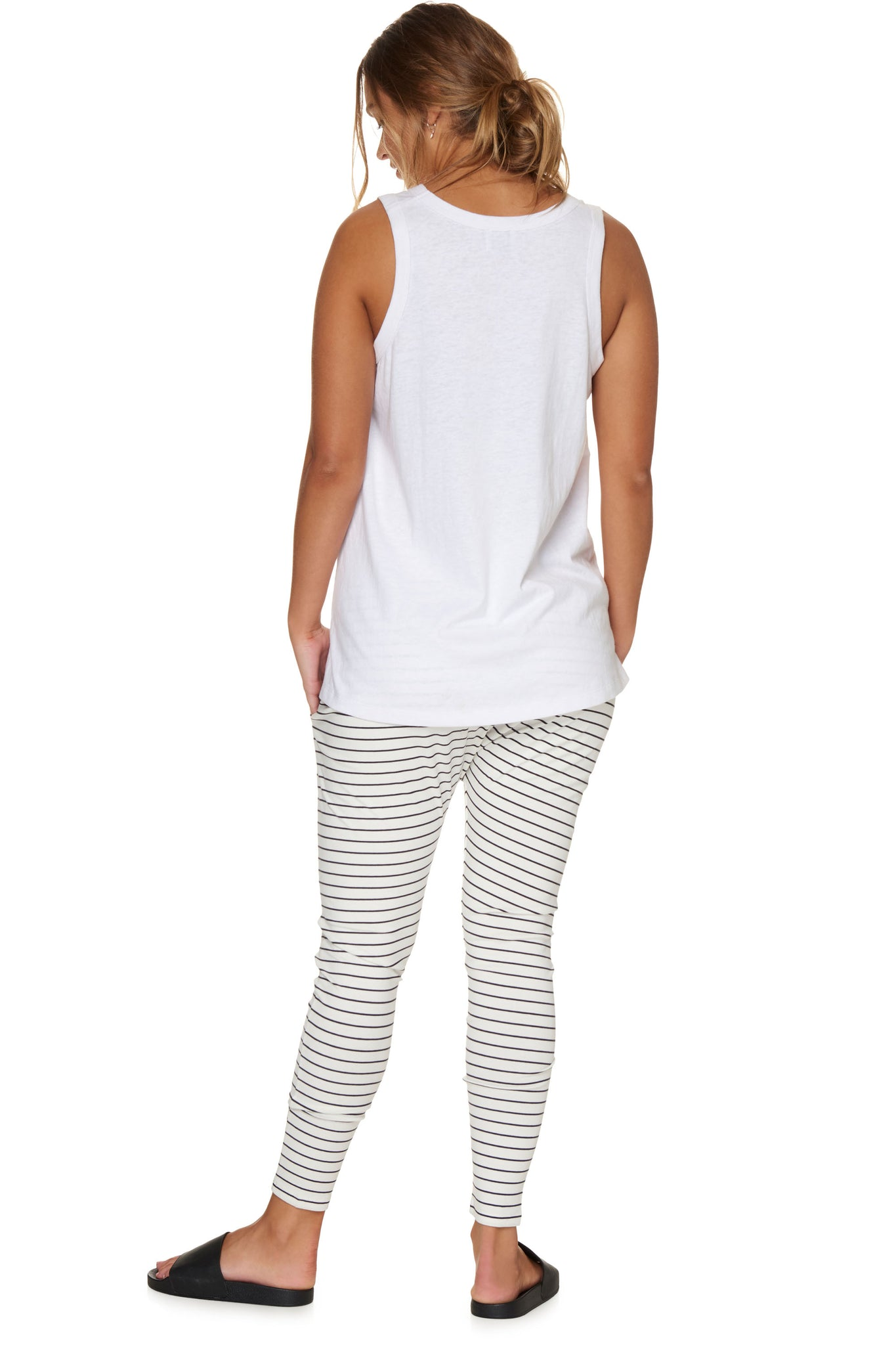 Maternity White Stripe Pant Image 4