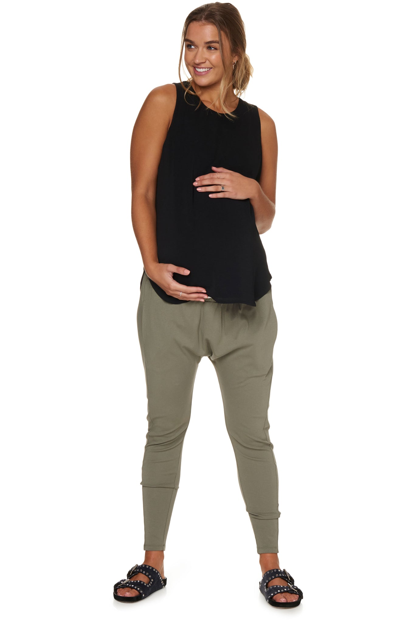 Maternity Jogger pants for pregnancy - Khaki 6