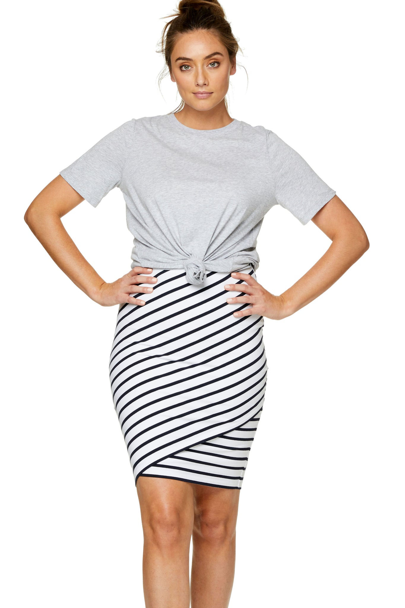 Bodycon Maternity Skirt Stripe Image 6