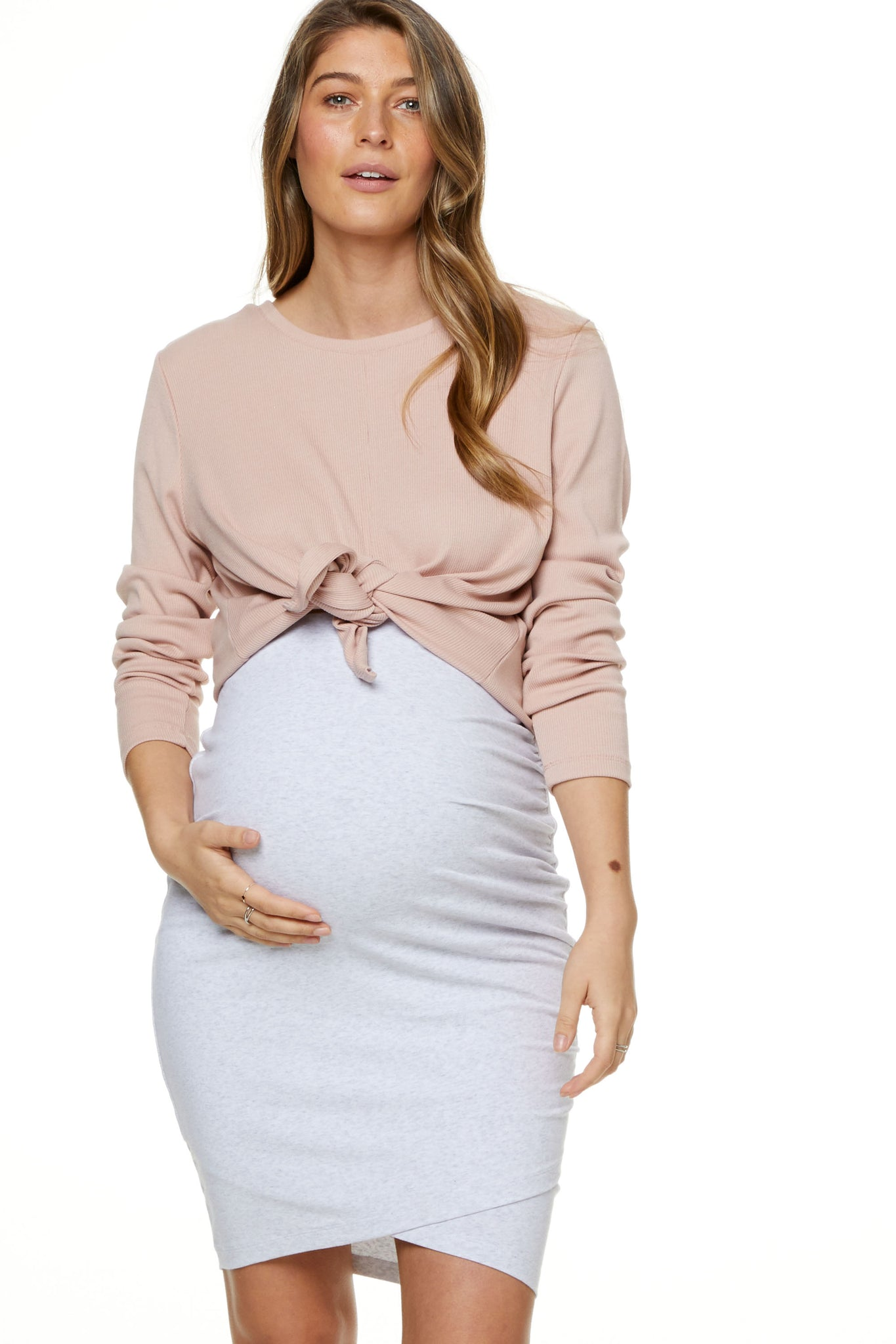 Bodycon Maternity Skirt Grey Marle Image 1