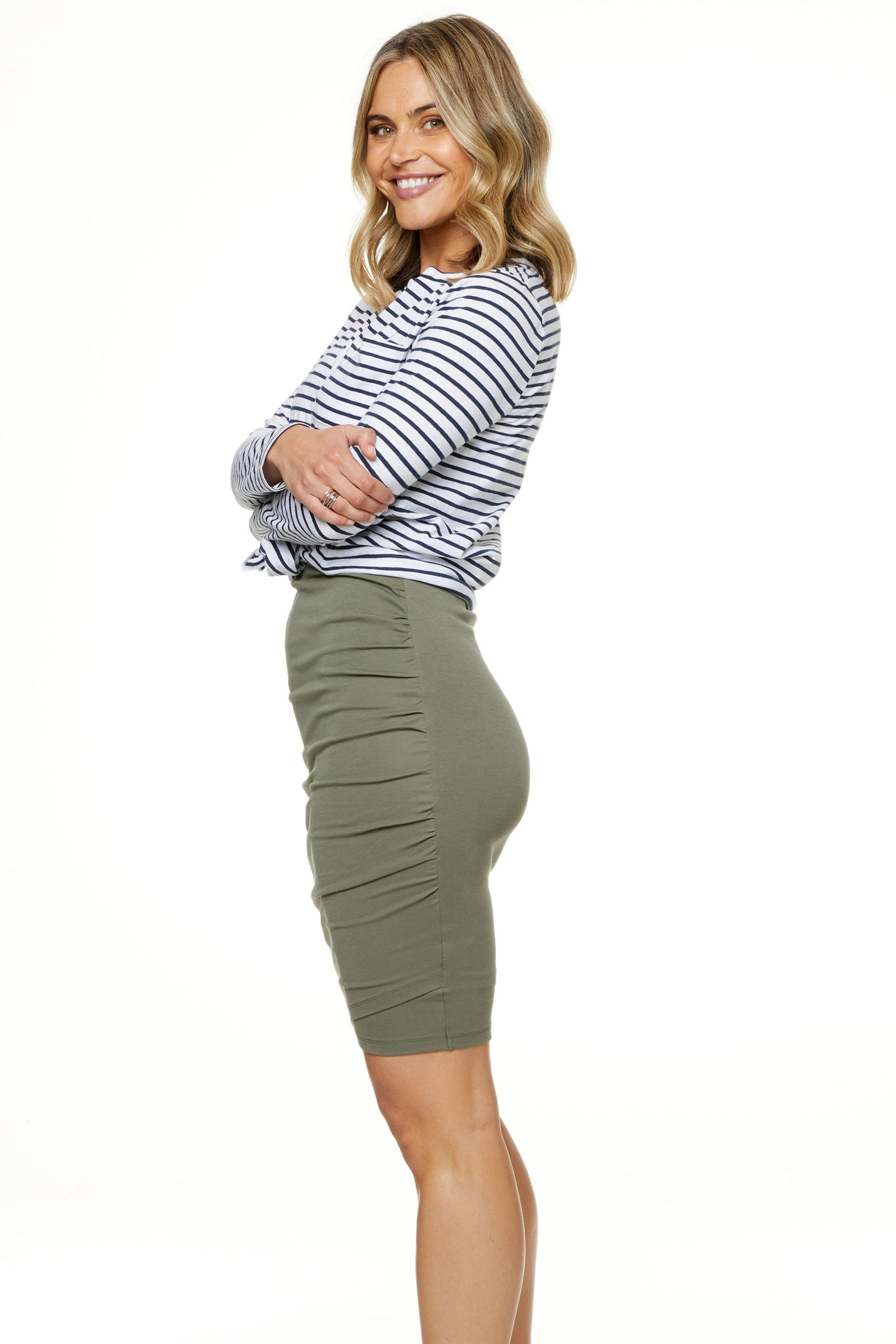 Bodycon Maternity Skirt Khaki Image 9