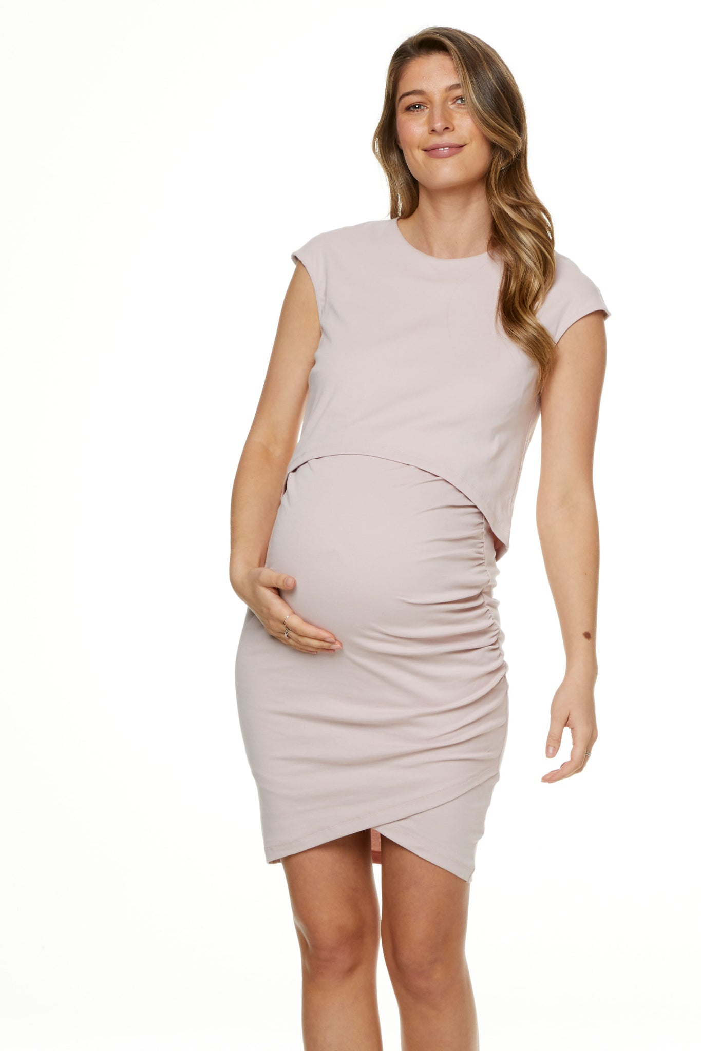 Maternity and Nursing Dress Pink Image 2